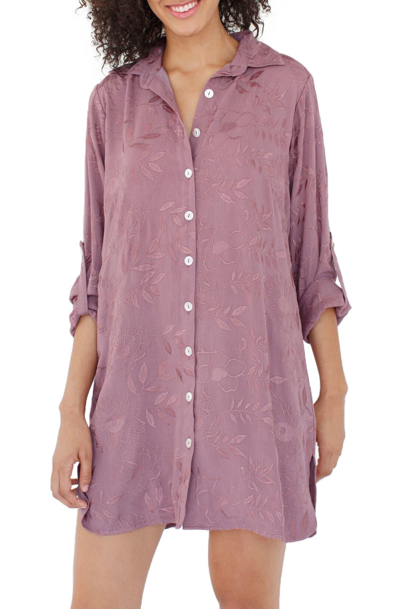Main Image - Plum Pretty Sugar Floral Embroidered Nightshirt