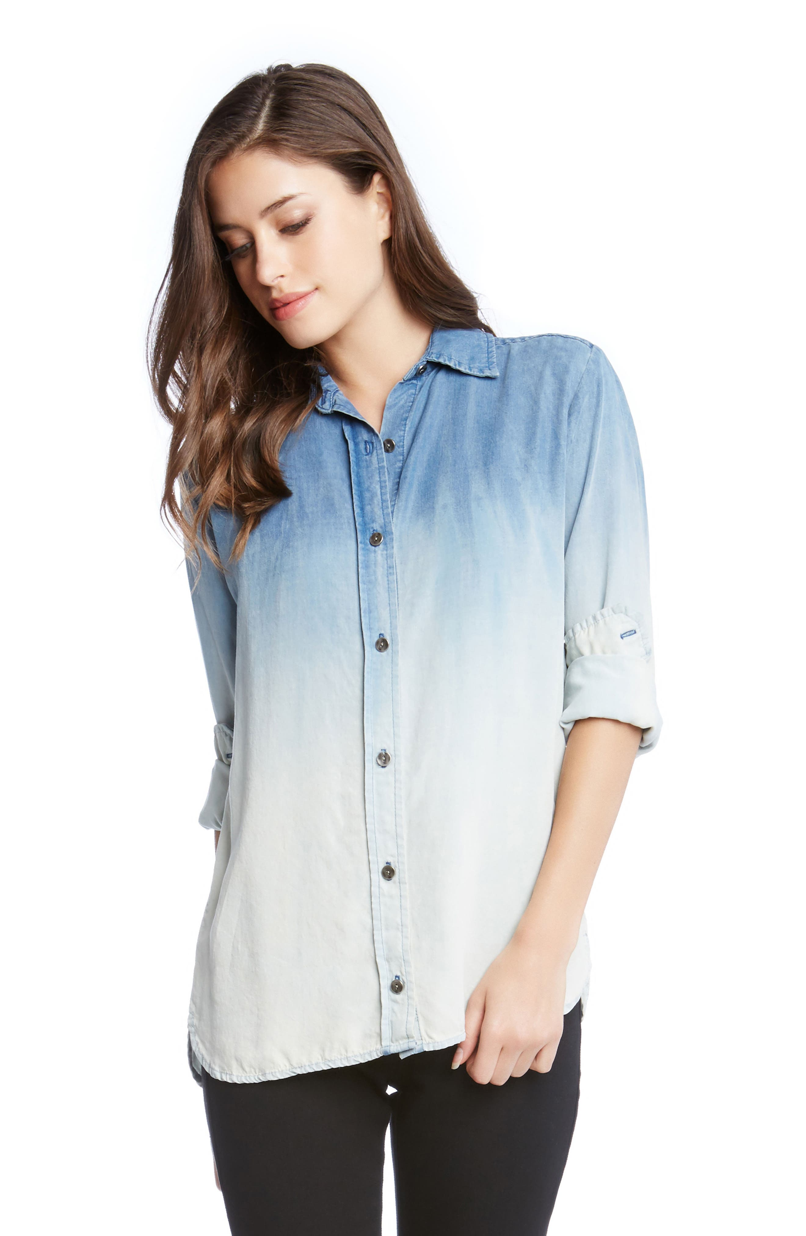 Ombré Chambray Shirt,                             Alternate thumbnail 3, color,                             Chambray