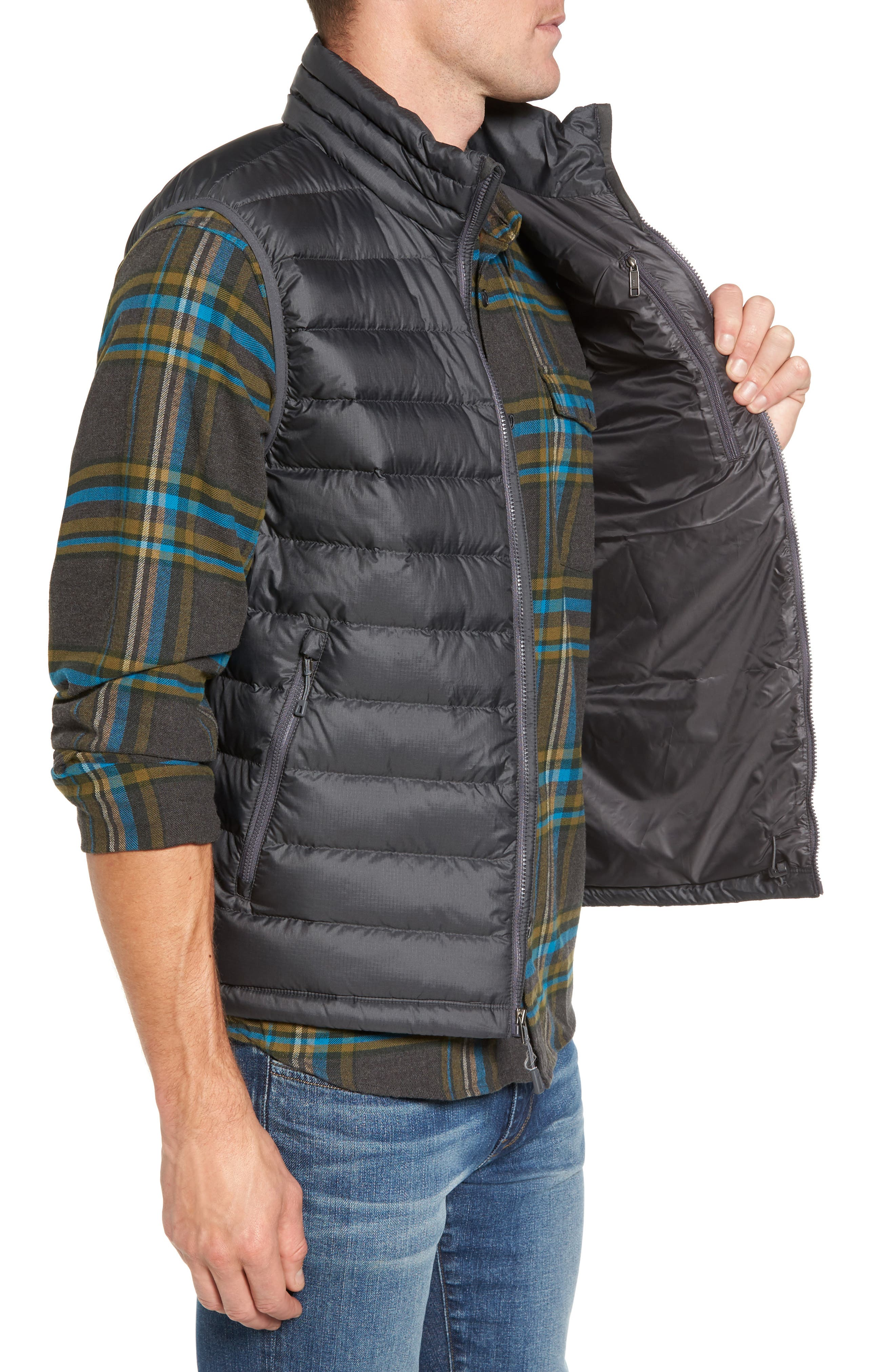 Windproof & Water Resistant 800 Fill Power Down Quilted Vest,                             Alternate thumbnail 3, color,                             Forge Grey W/ Forge Grey