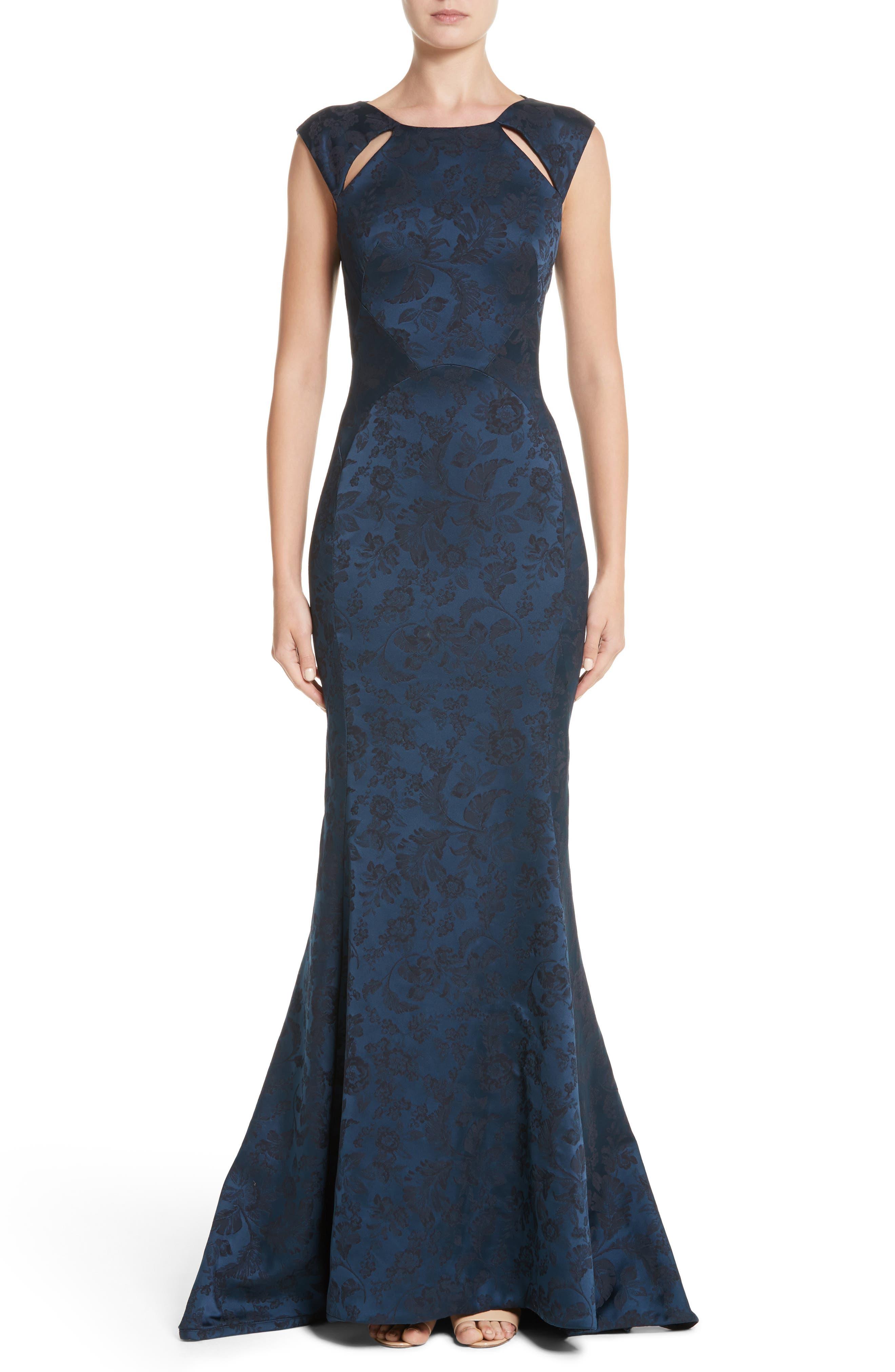 Slit Shoulder Jacquard Mermaid Gown,                         Main,                         color, Navy/ Twilight