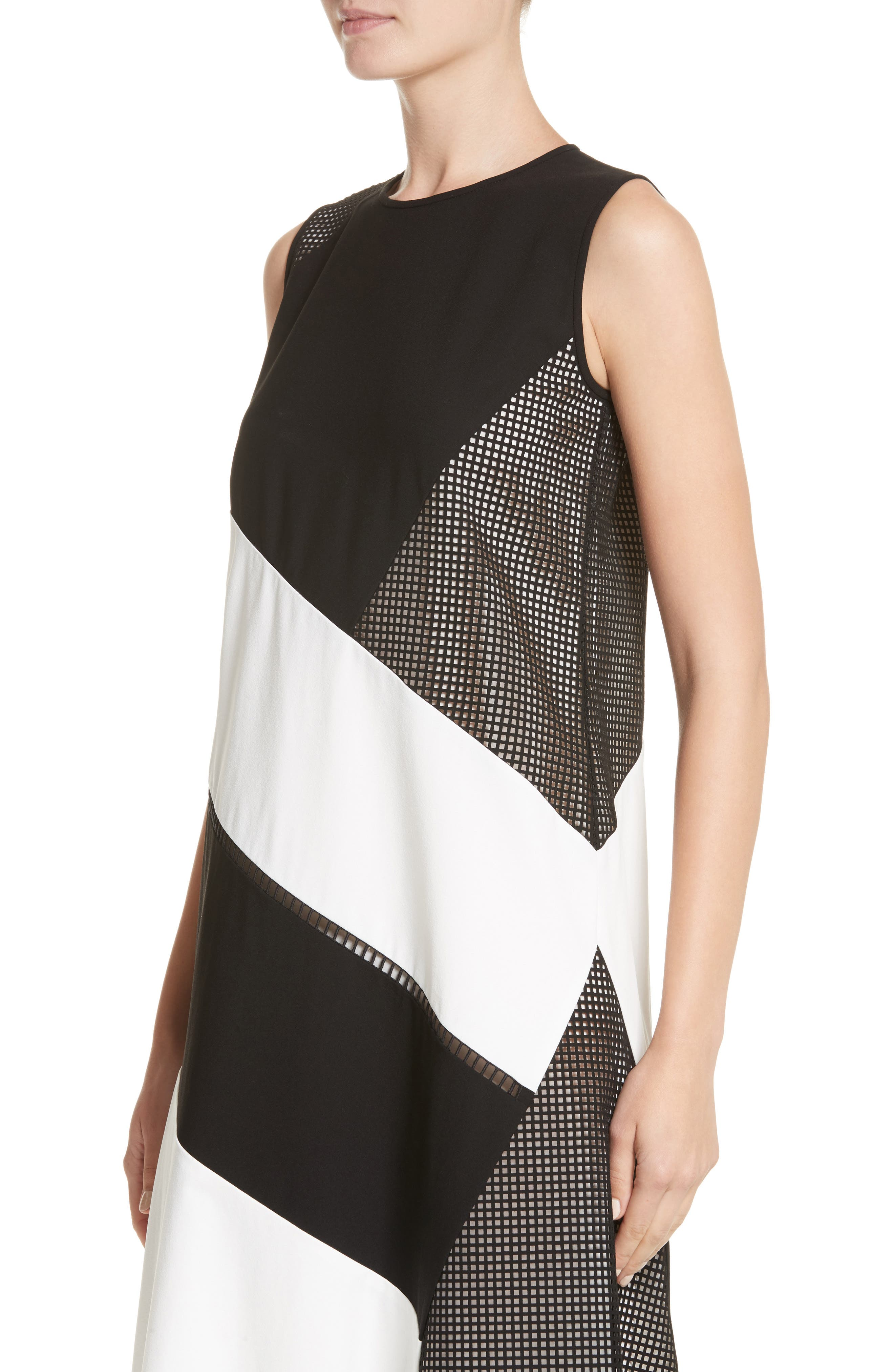 Nuri Laser Cut Midi Dress,                             Alternate thumbnail 4, color,                             Black/Cloud