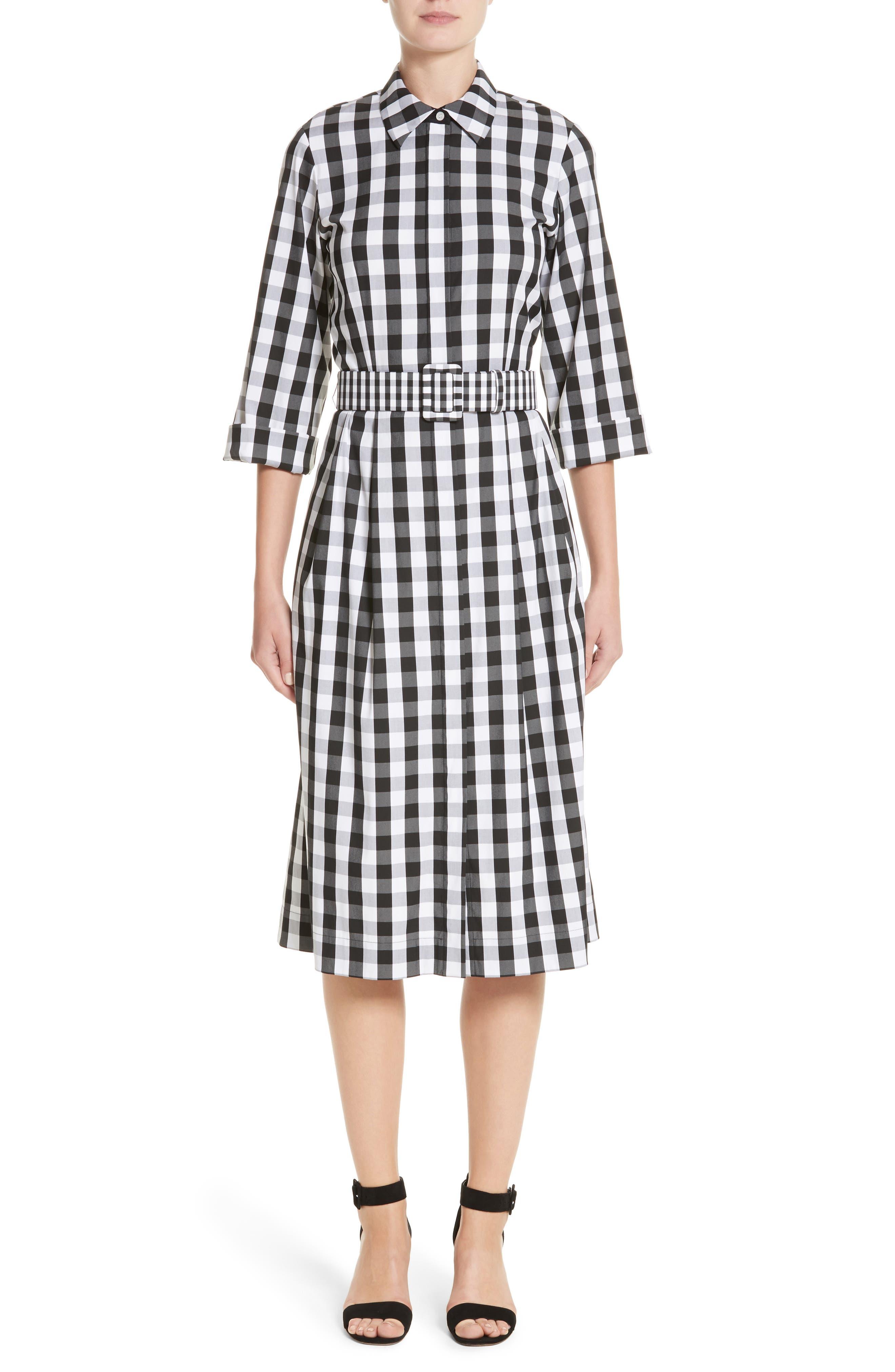 Eleni Gingham Shirtdress,                         Main,                         color, Black Multi