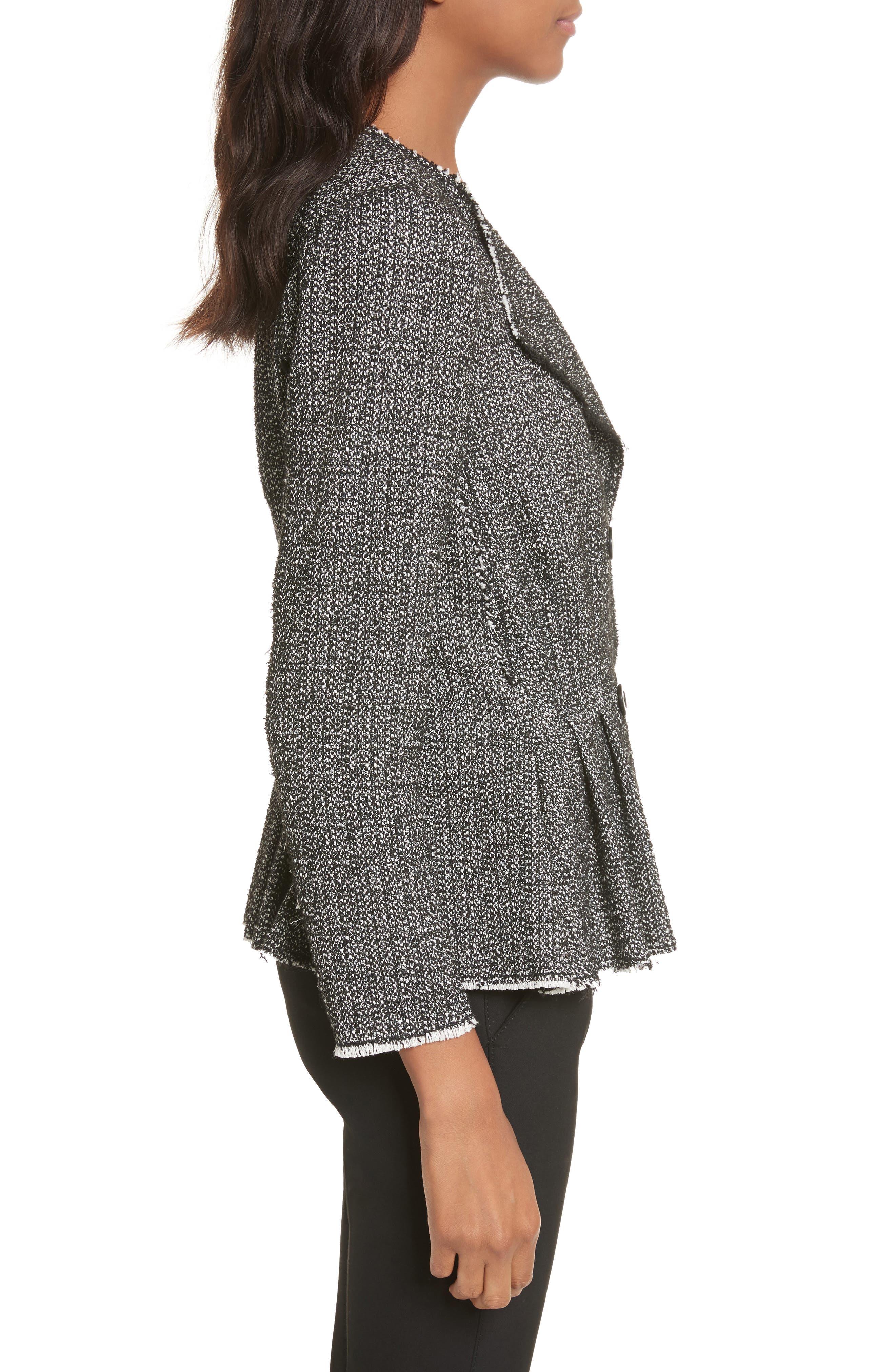 Texture Tweed Jacket,                             Alternate thumbnail 3, color,                             Black Combo