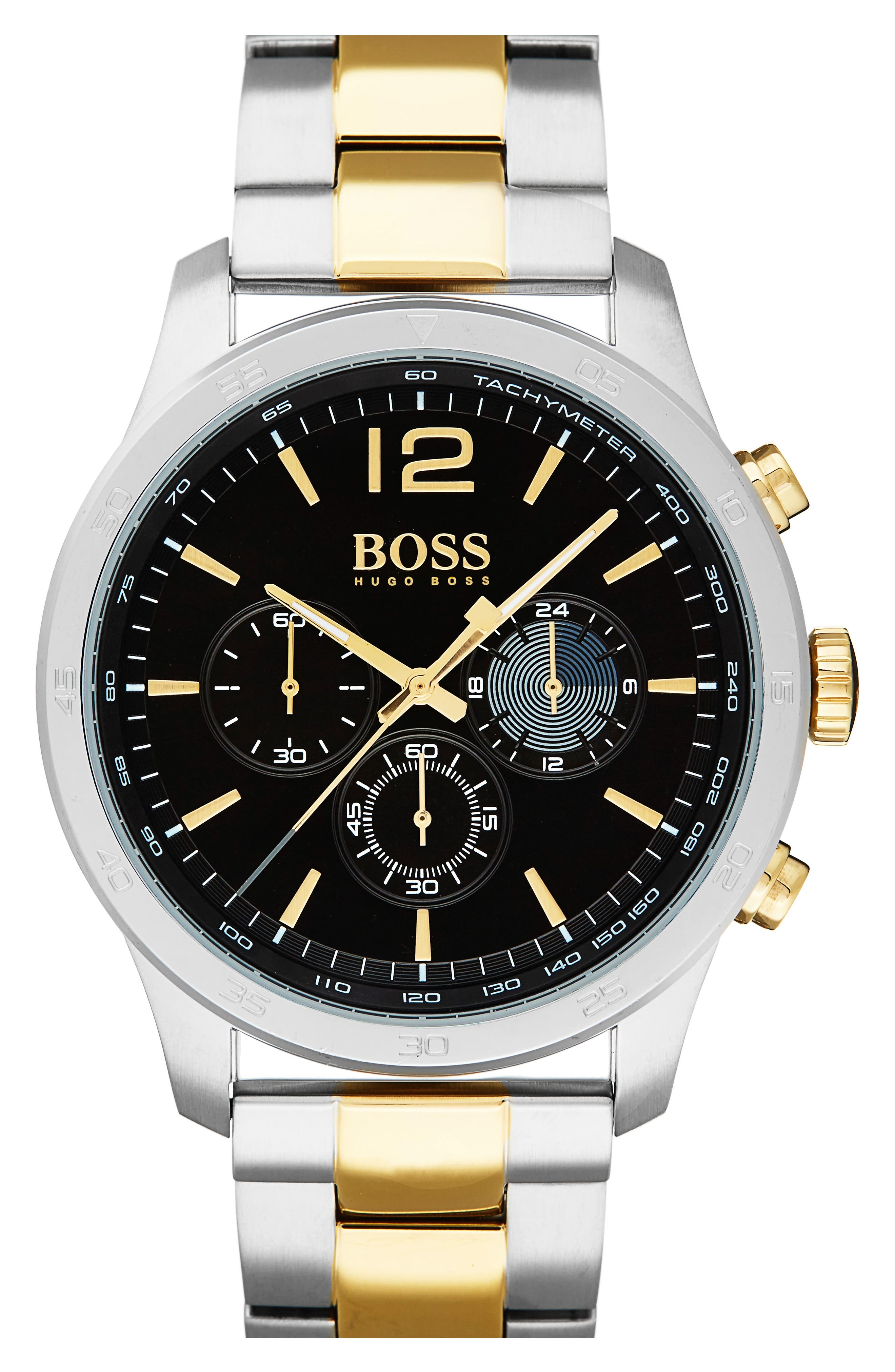 Professional Chronograph Bracelet Watch, 42mm,                         Main,                         color, Black/ Stainless