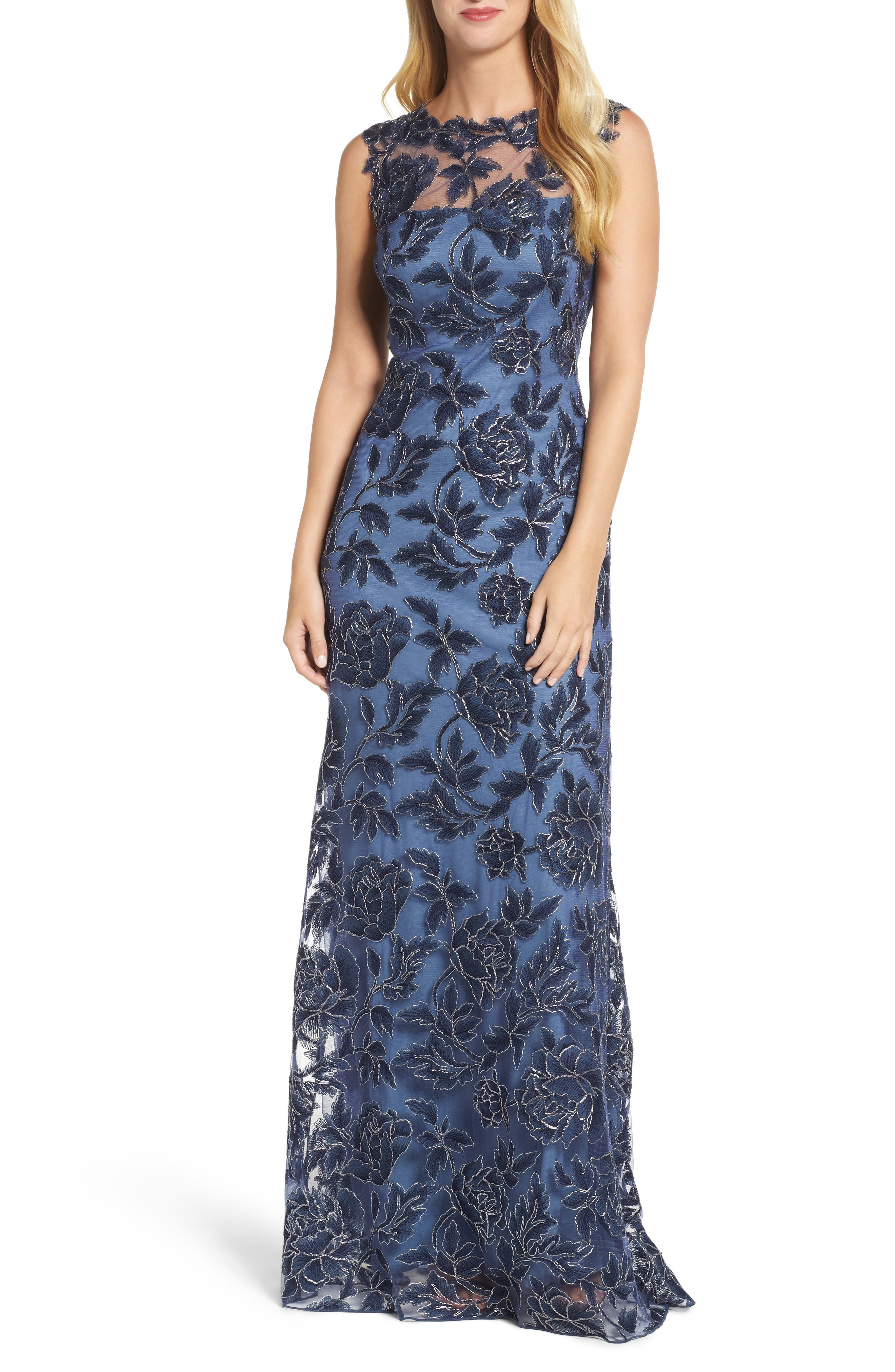 Embroidered Mesh Gown,                         Main,                         color, Navy/ Steel