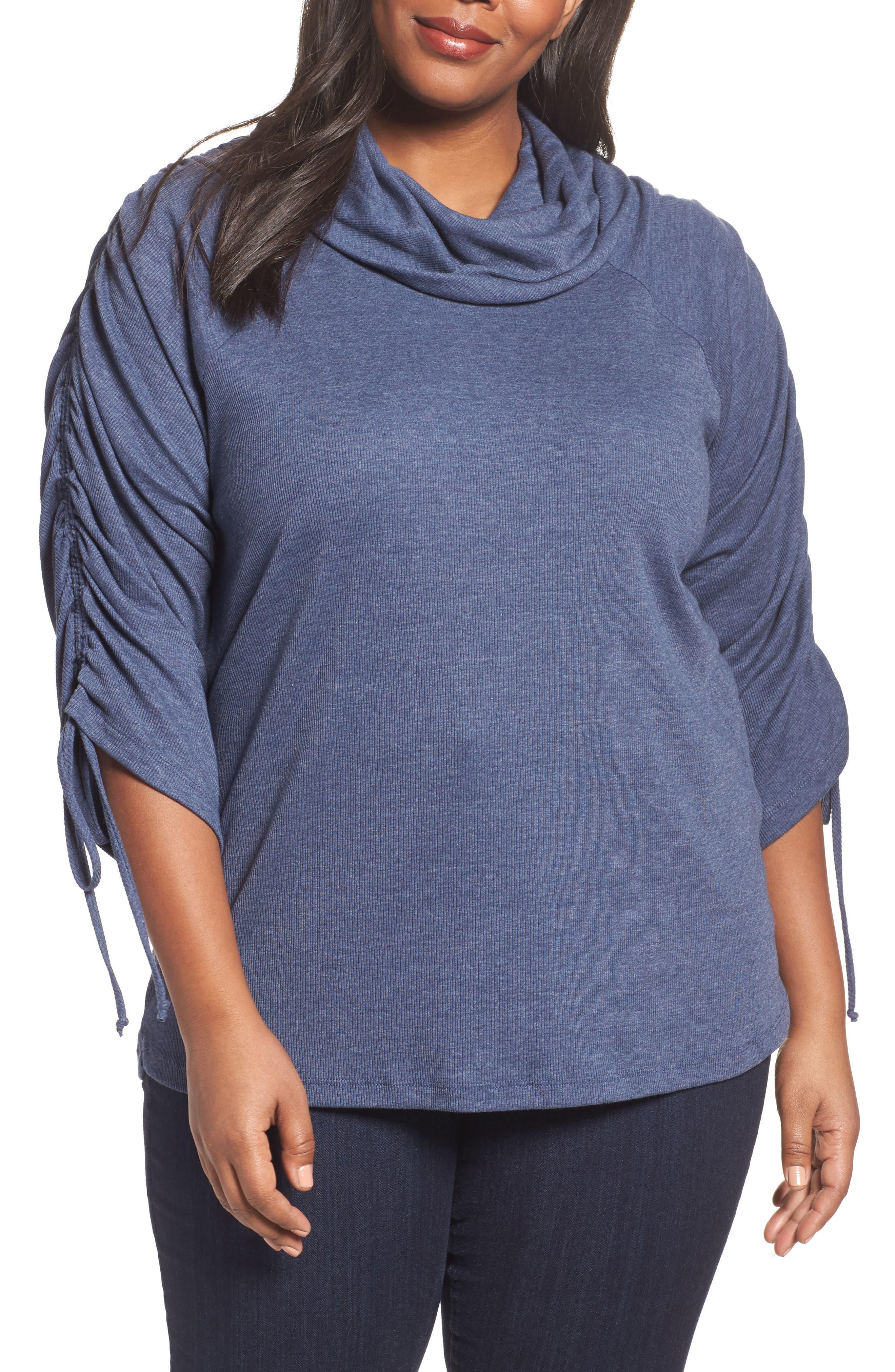 Sejour Drawstring Sleeve Tunic (Plus Size)