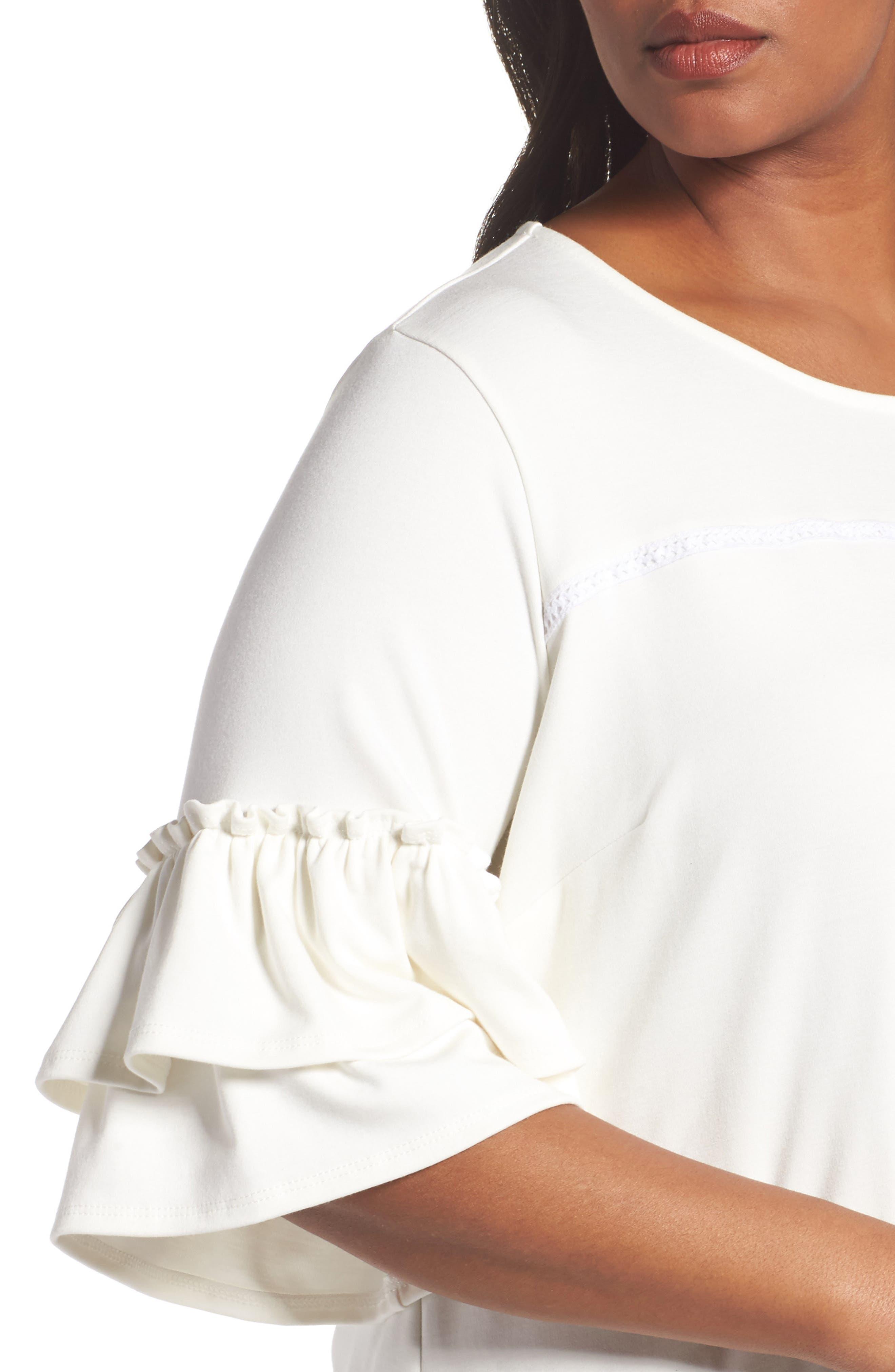 Alternate Image 4  - Sejour Double Ruffle Sleeve Top (Plus Size)