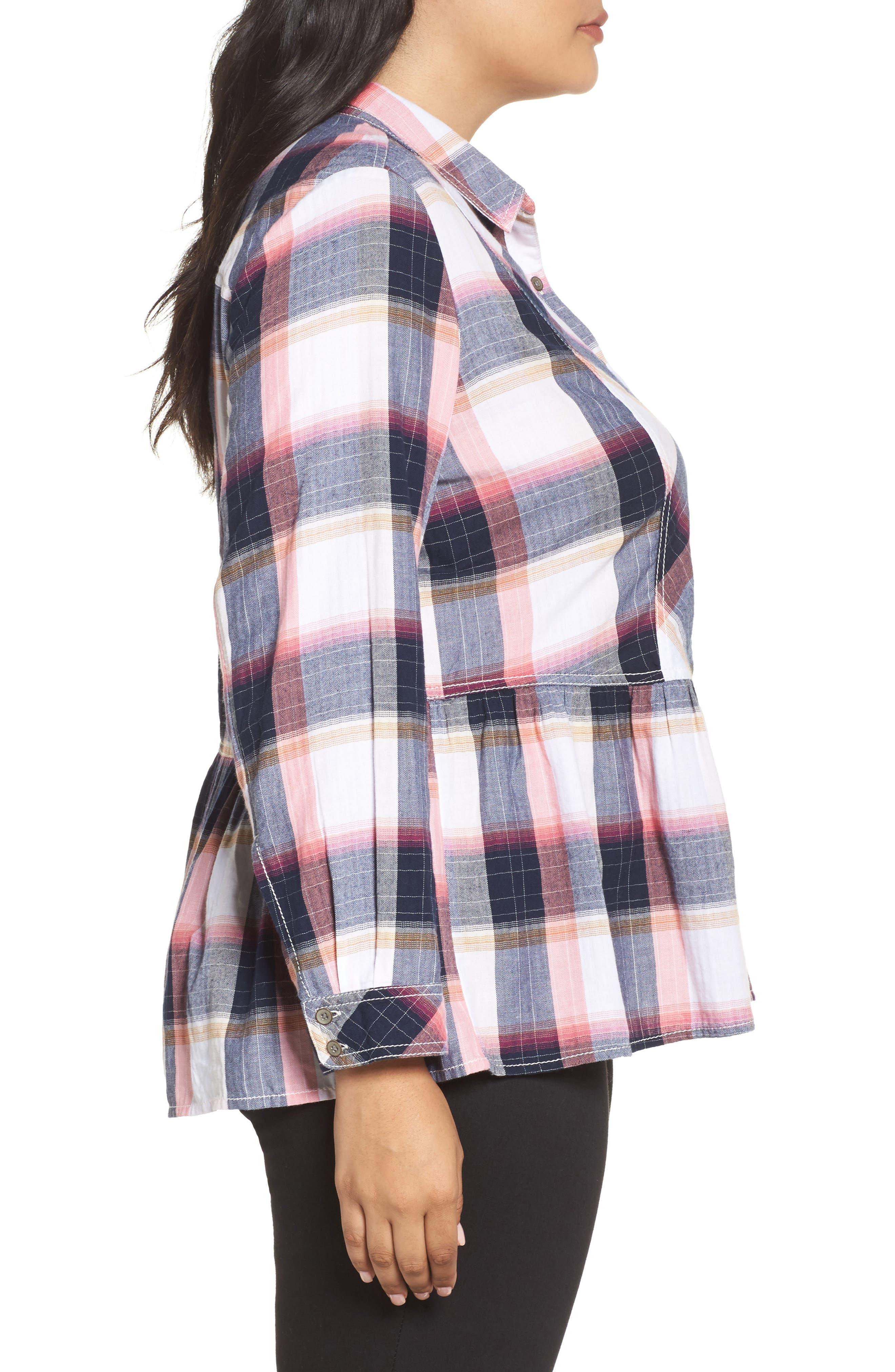 Alternate Image 3  - Caslon® Plaid Peplum Shirt (Plus Size)