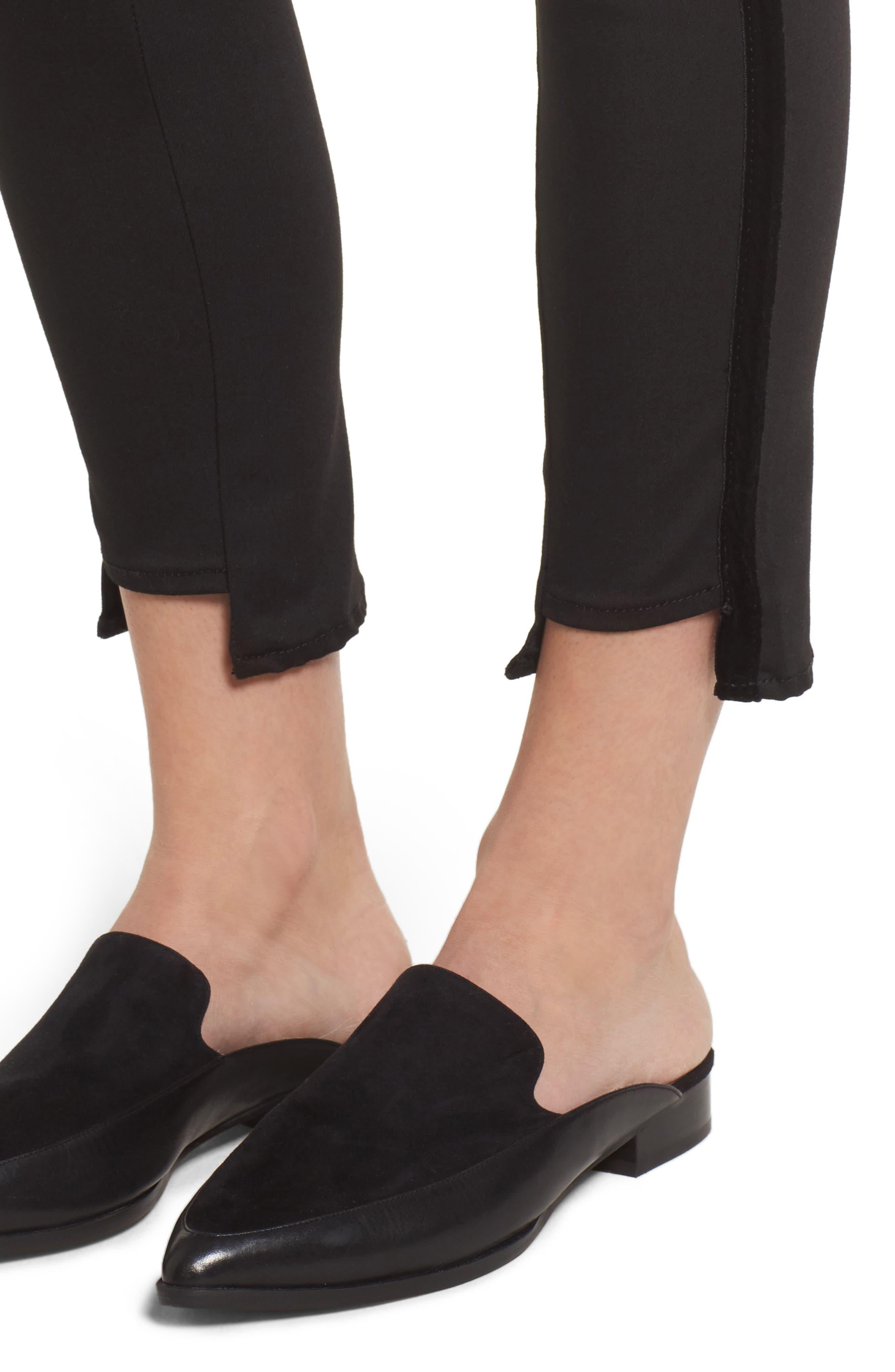 Twisted Tuxedo Crop Skinny Jeans,                             Alternate thumbnail 4, color,                             Eternal Black