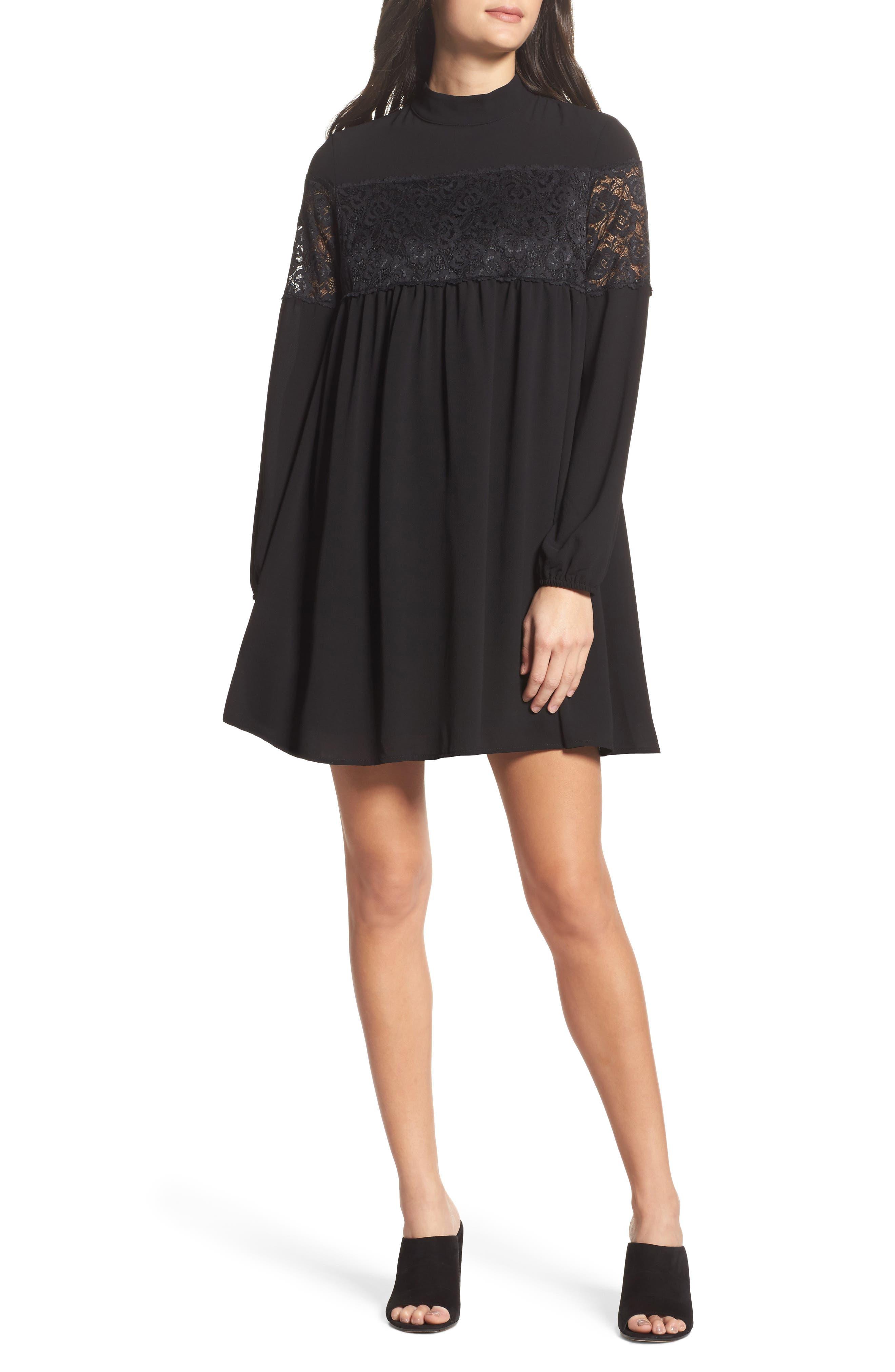 Mock Neck Shift Dress,                             Main thumbnail 1, color,                             Black