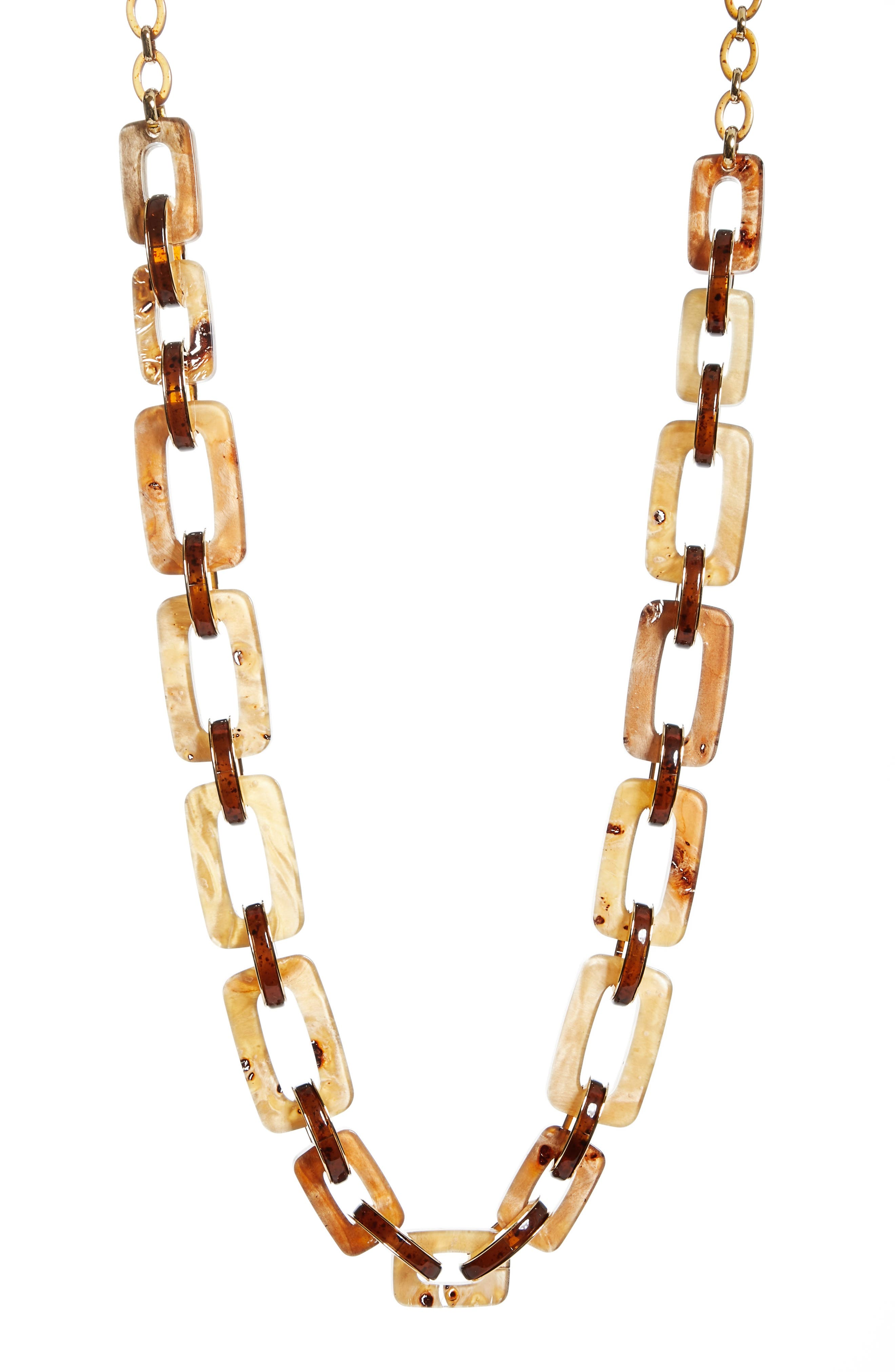 Wood Square Link Necklace,                         Main,                         color, Camel Multi