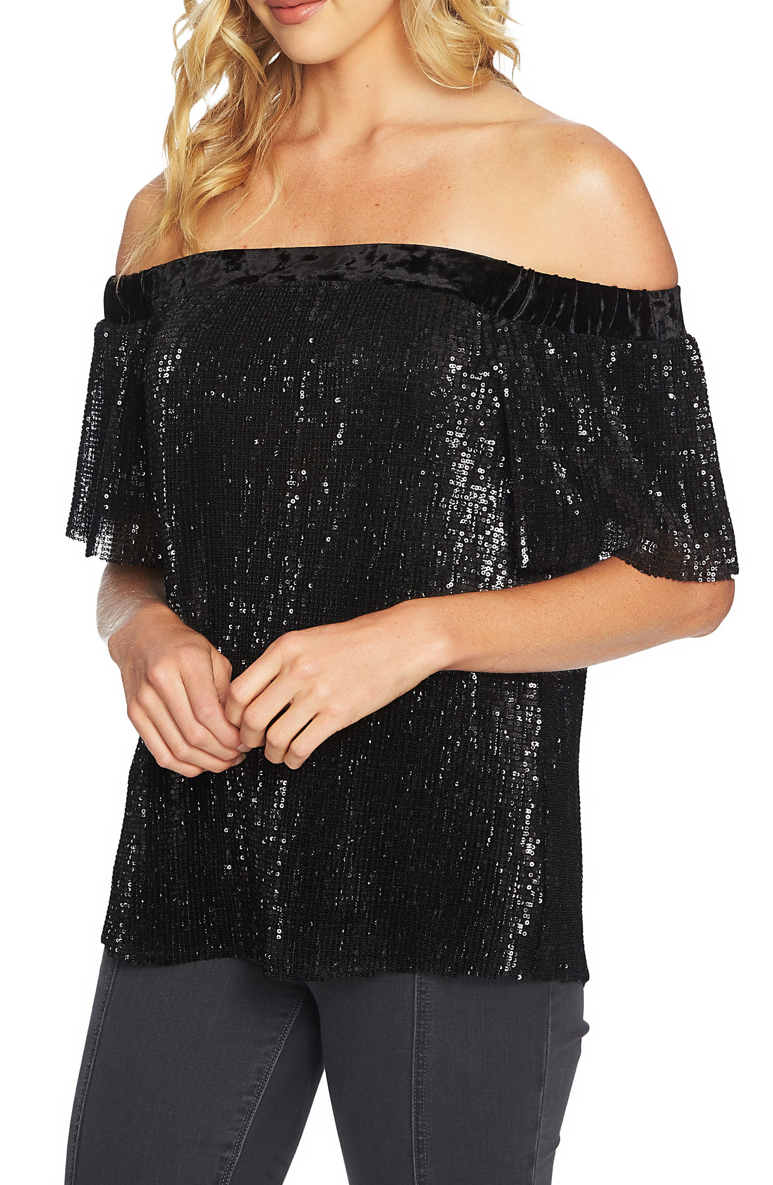 Sequin & Velvet Off the Shoulder Top,                             Main thumbnail 1, color,                             Rich Black