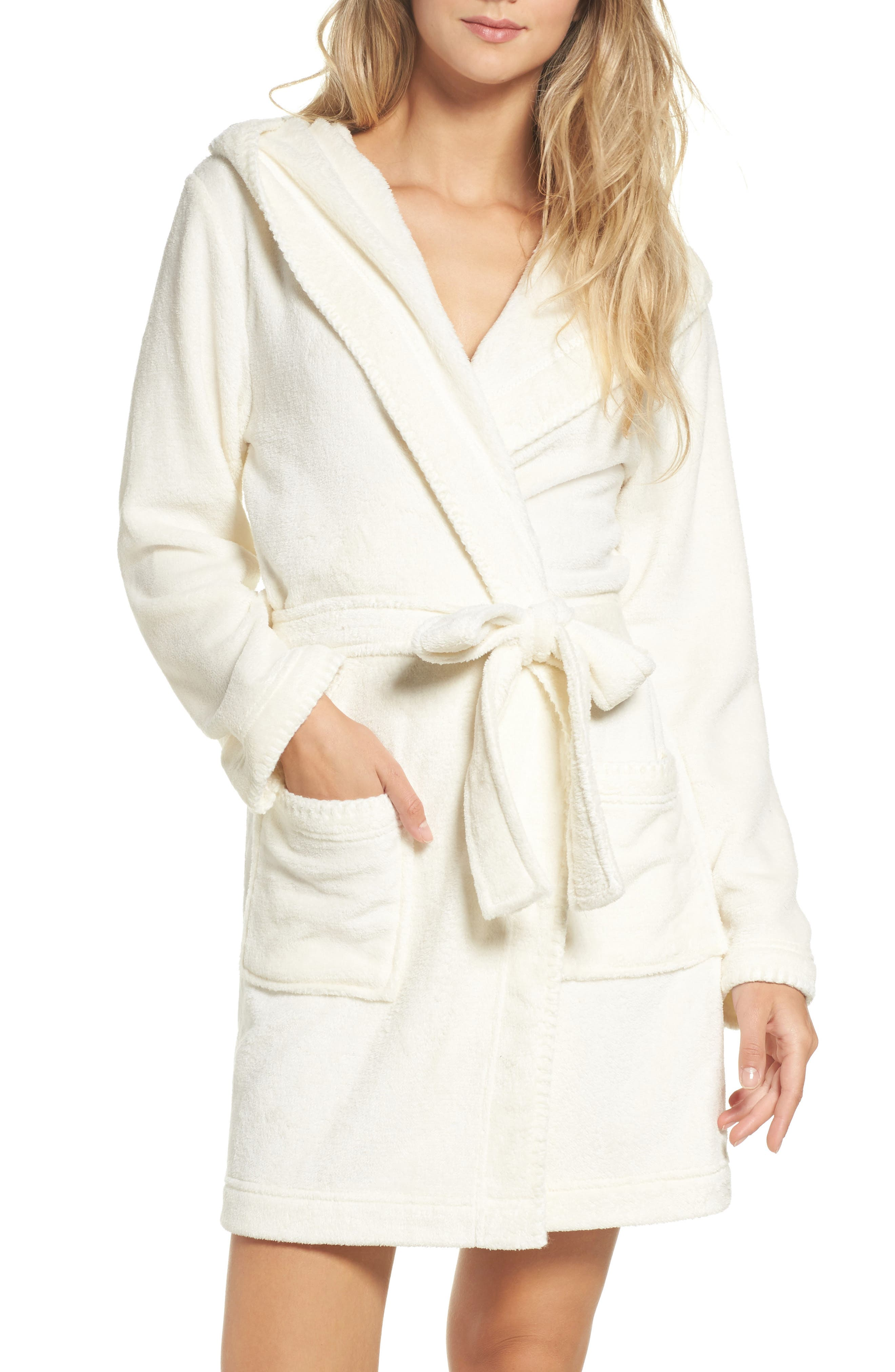 Starry Night Plush Short Robe,                             Main thumbnail 1, color,                             Ivory Egret