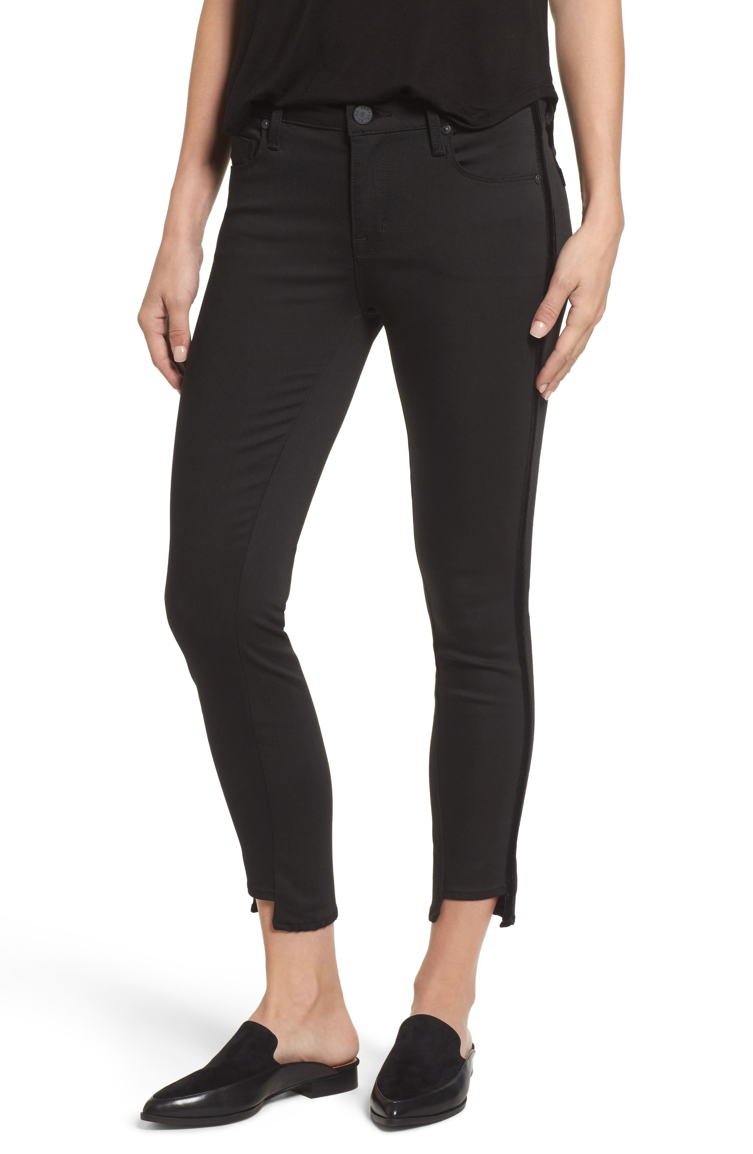 Twisted Tuxedo Crop Skinny Jeans,                             Main thumbnail 1, color,                             Eternal Black