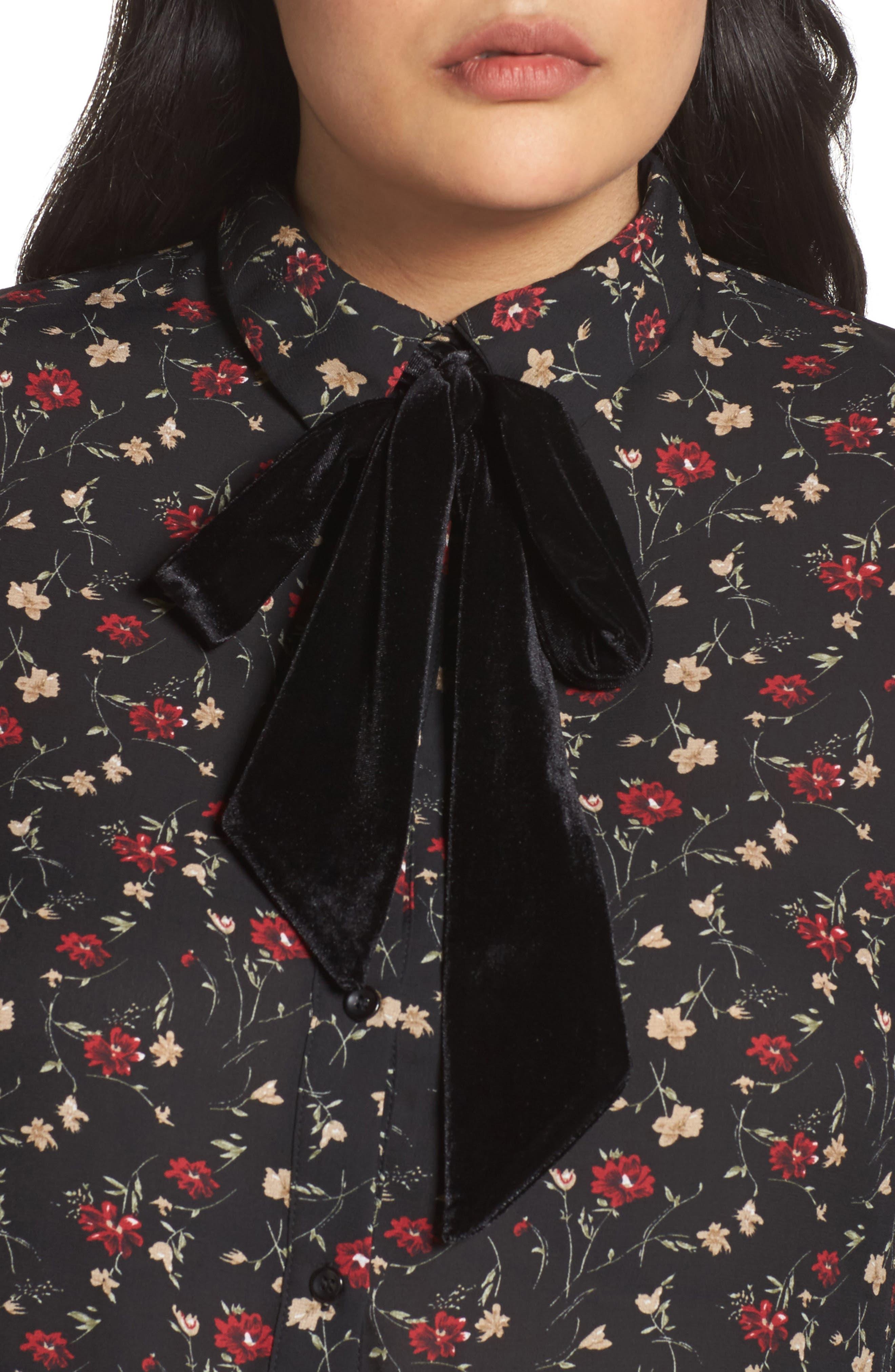 Velvet Tie Floral Blouse,                             Alternate thumbnail 4, color,                             Multi