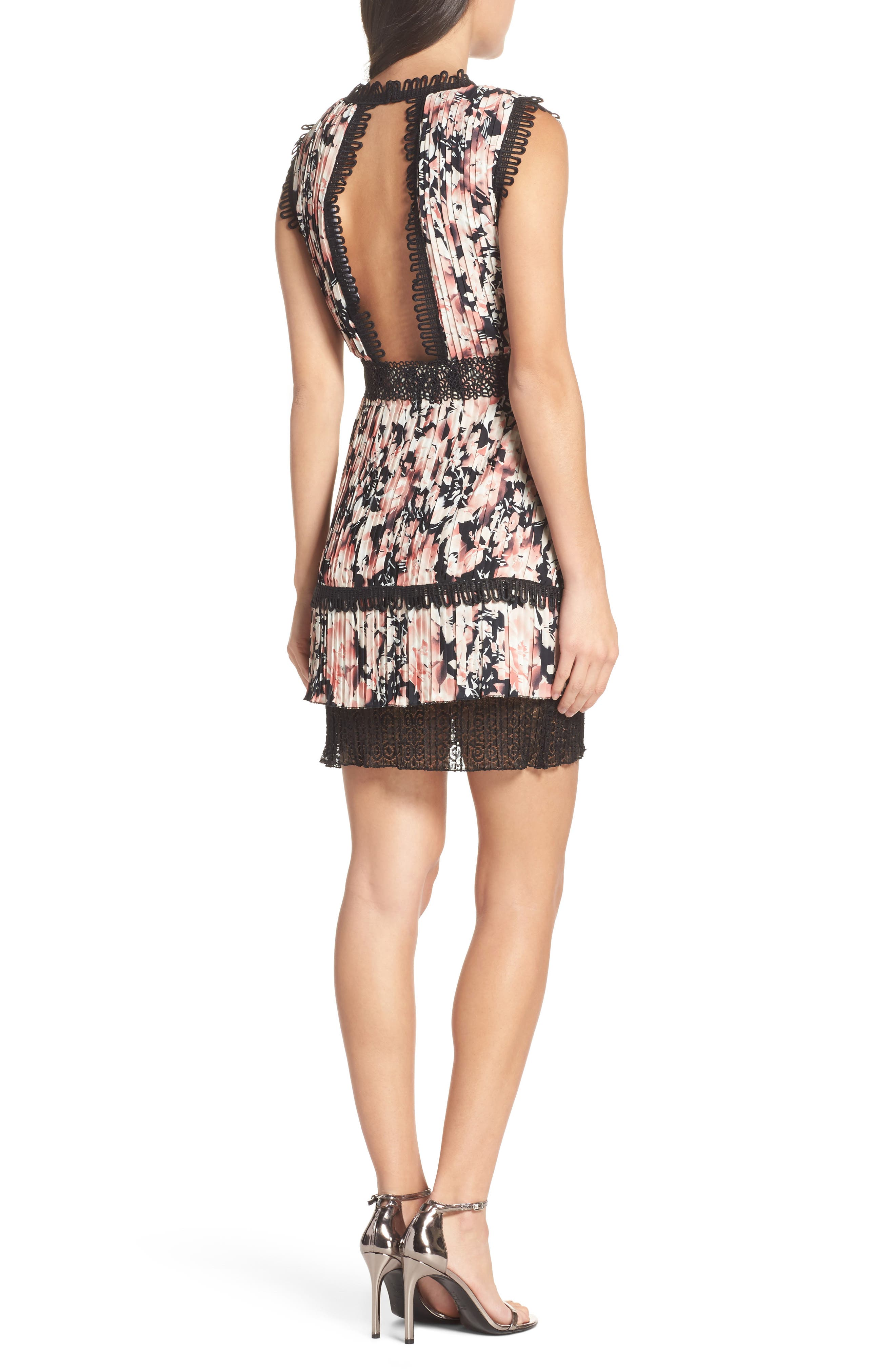 Alternate Image 2  - Foxiedox Jasmine Floral Pleated Fit & Flare Dress