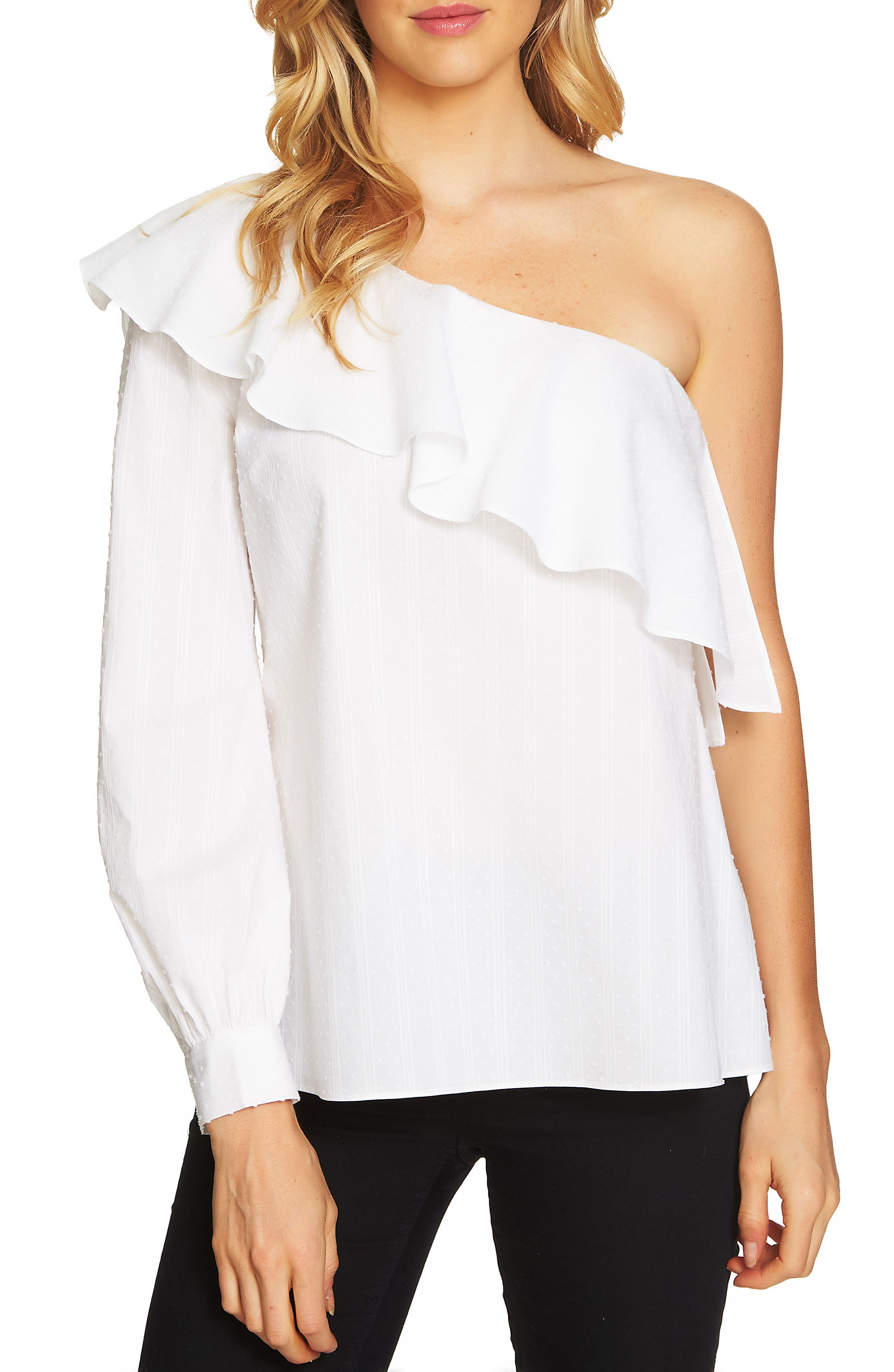 One-Shoulder Swiss Dot Top,                         Main,                         color, Ultra White