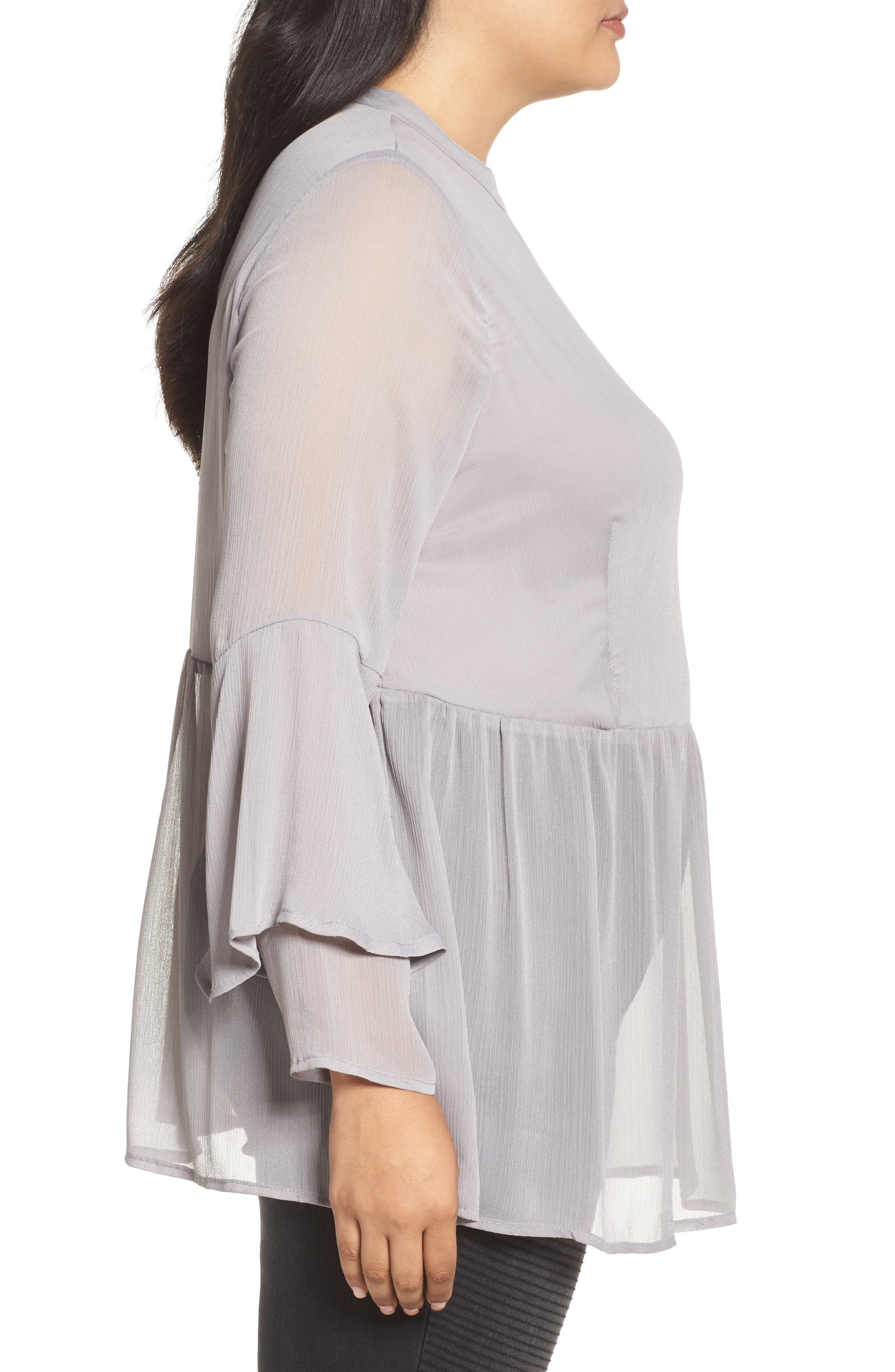 Crinkled Chiffon Top,                             Alternate thumbnail 3, color,                             Grey