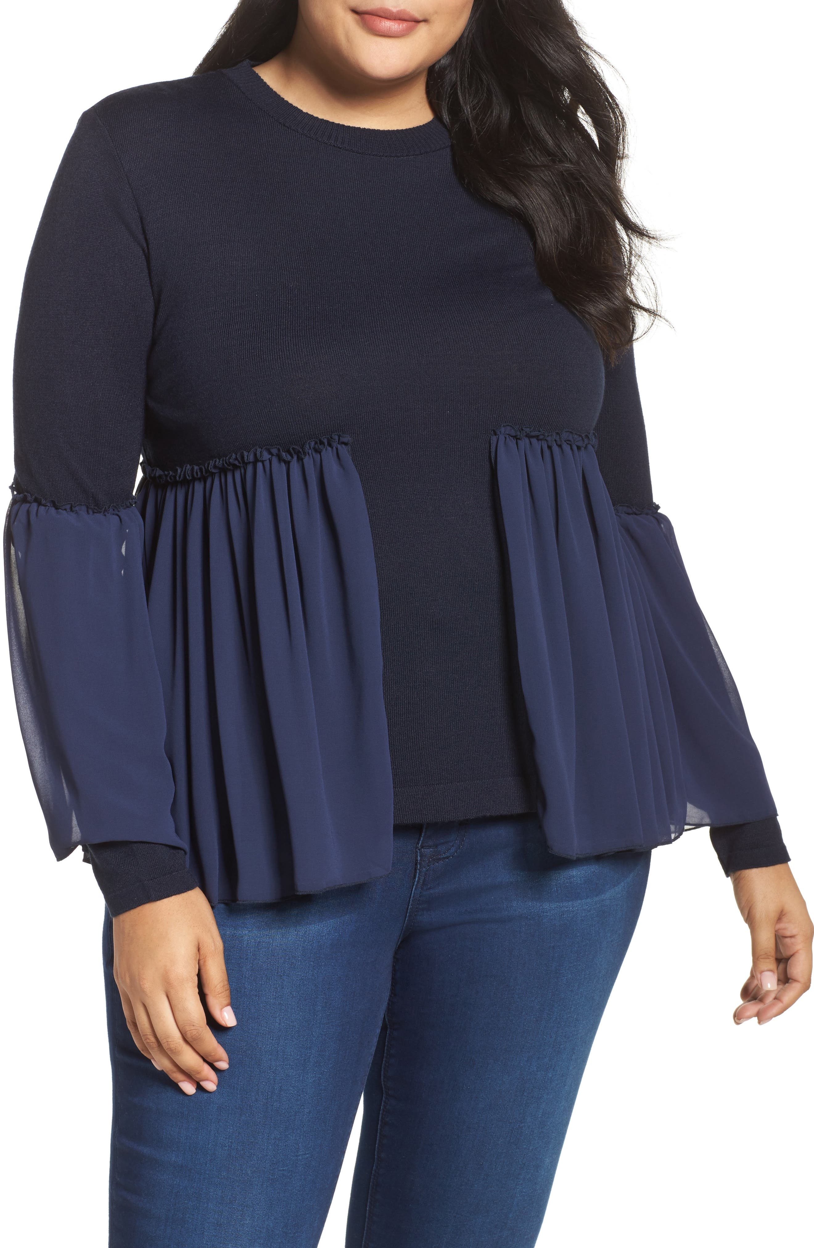 Smocked Chiffon Contrast Sweater,                         Main,                         color, Navy