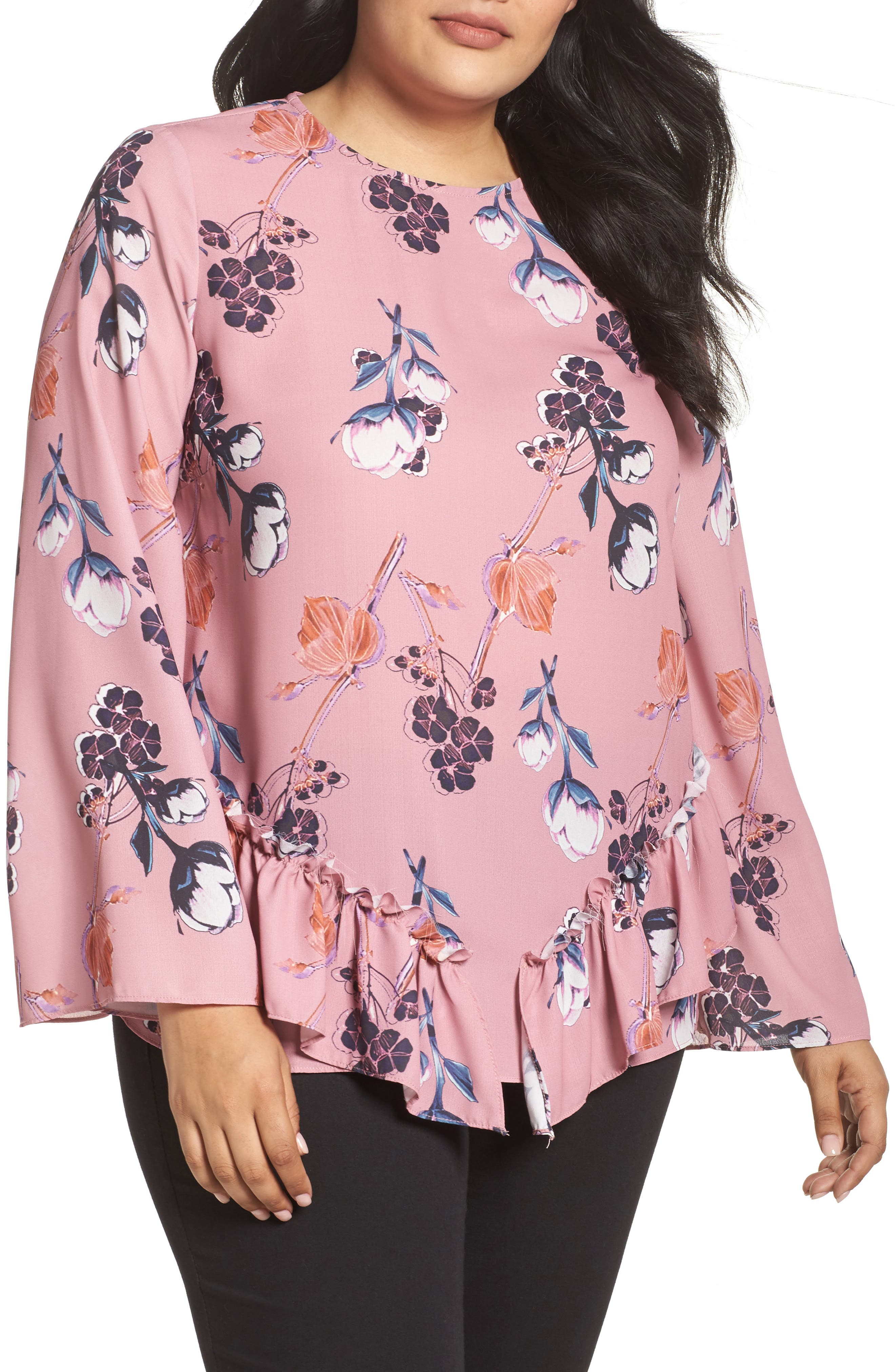 Alternate Image 1 Selected - LOST INK Ruffle Hem Top (Plus Size)