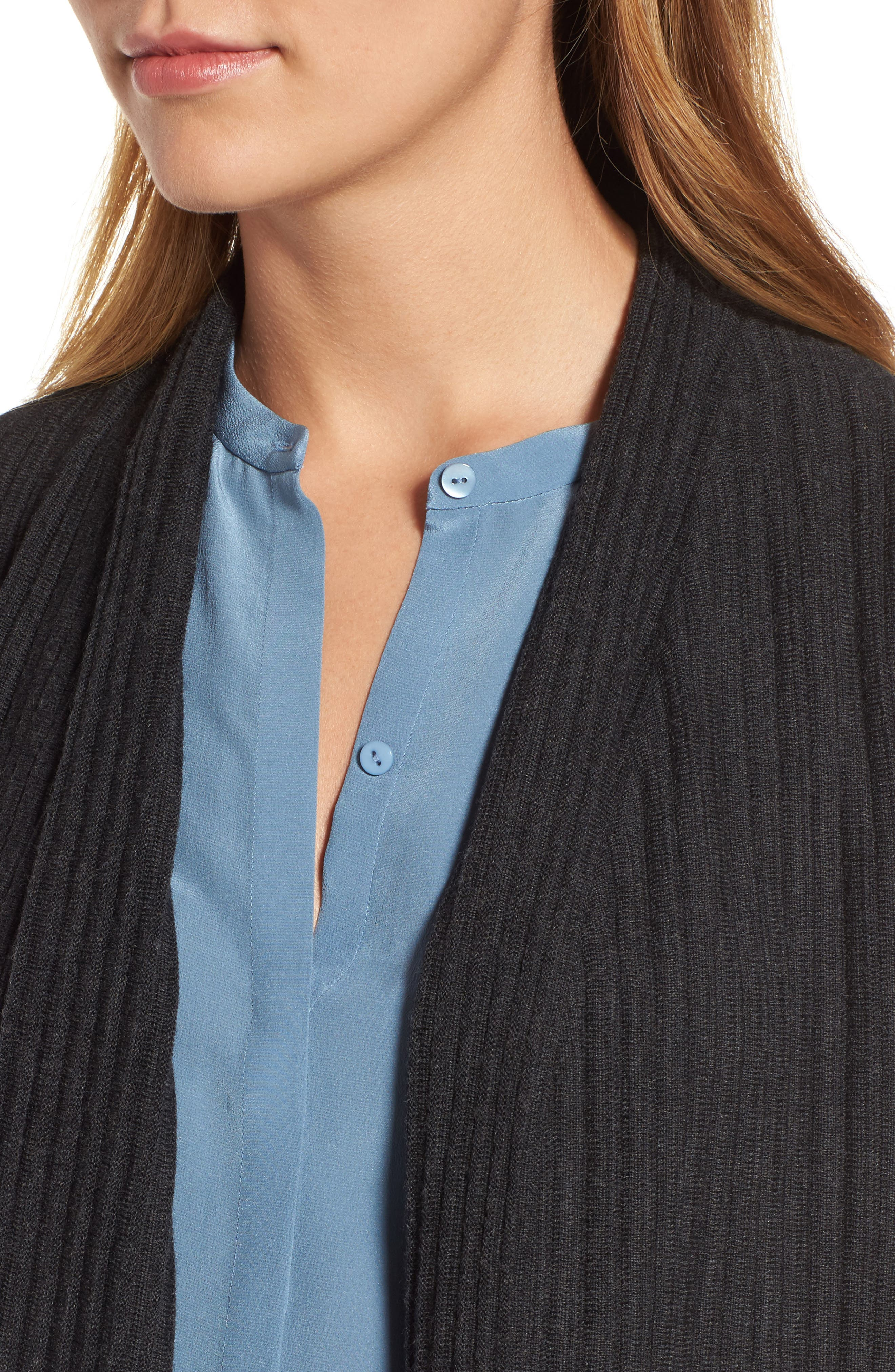 Alternate Image 4  - Eileen Fisher Ribbed Merino Wool Long Cardigan