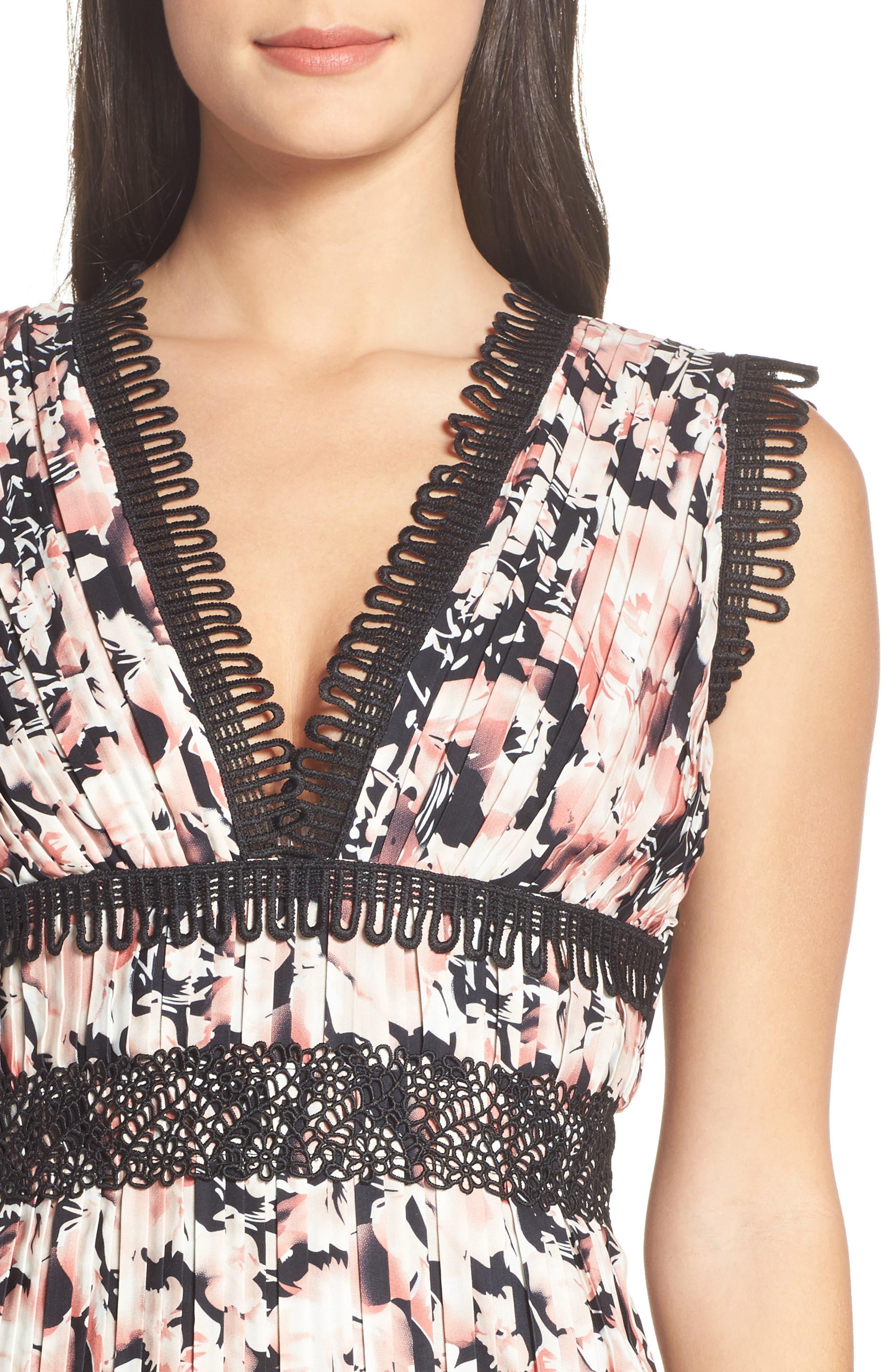 Alternate Image 3  - Foxiedox Jasmine Floral Pleated Fit & Flare Dress