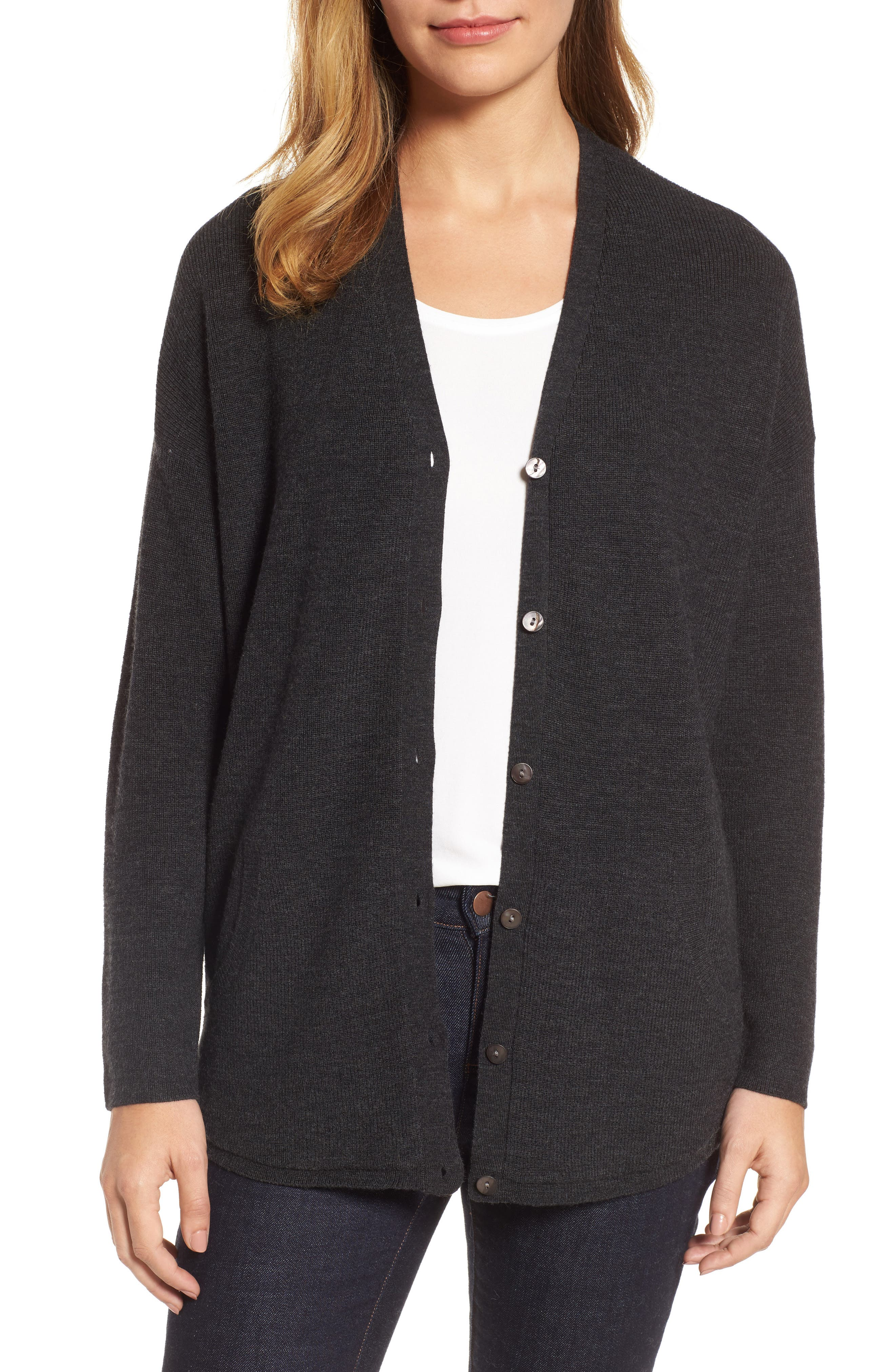 Eileen Fisher V-Neck Merino Wool Cardigan (Regular & Petite)