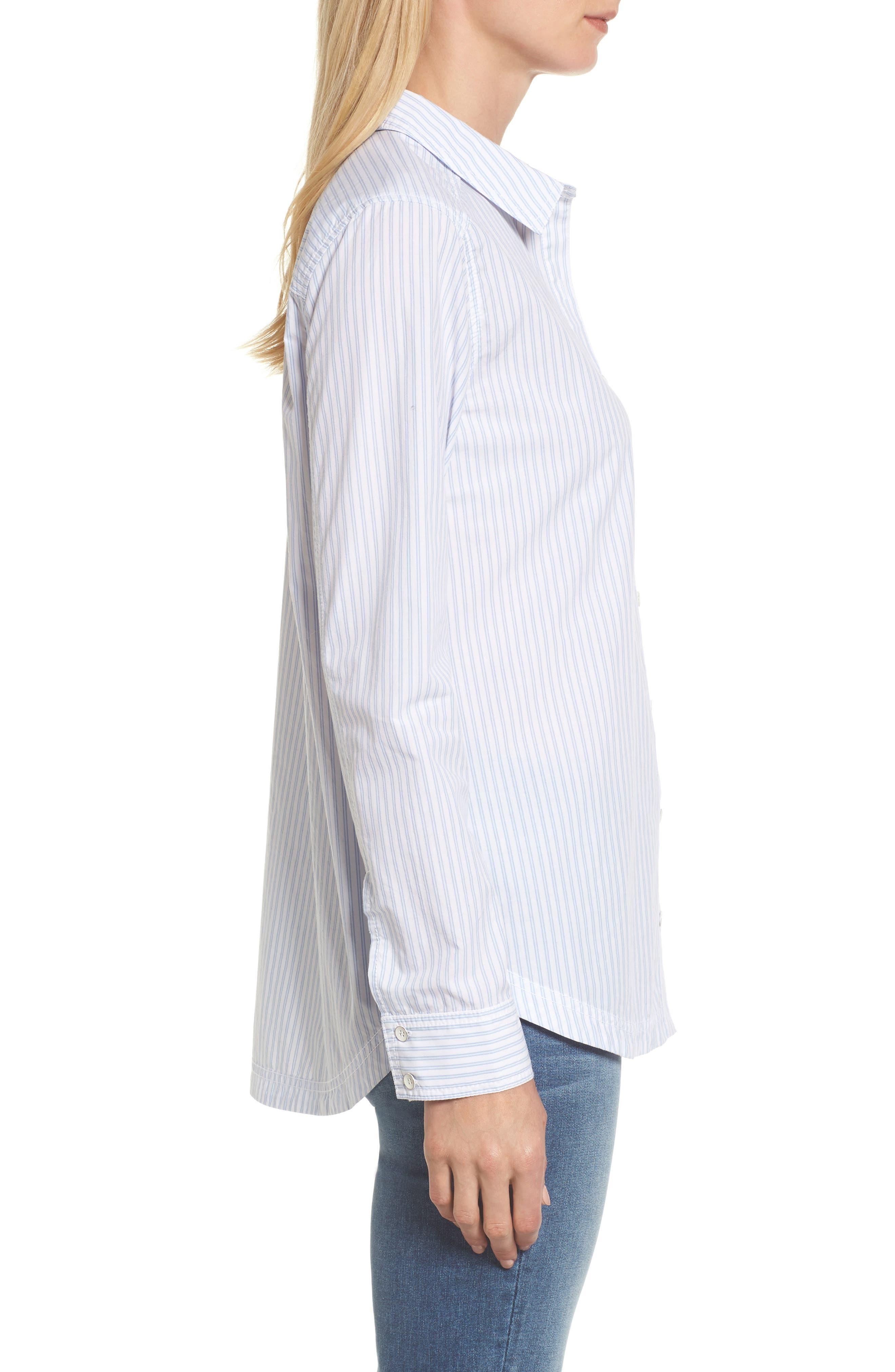 Button Front Pocket Shirt,                             Alternate thumbnail 3, color,                             White- Blue Stripe