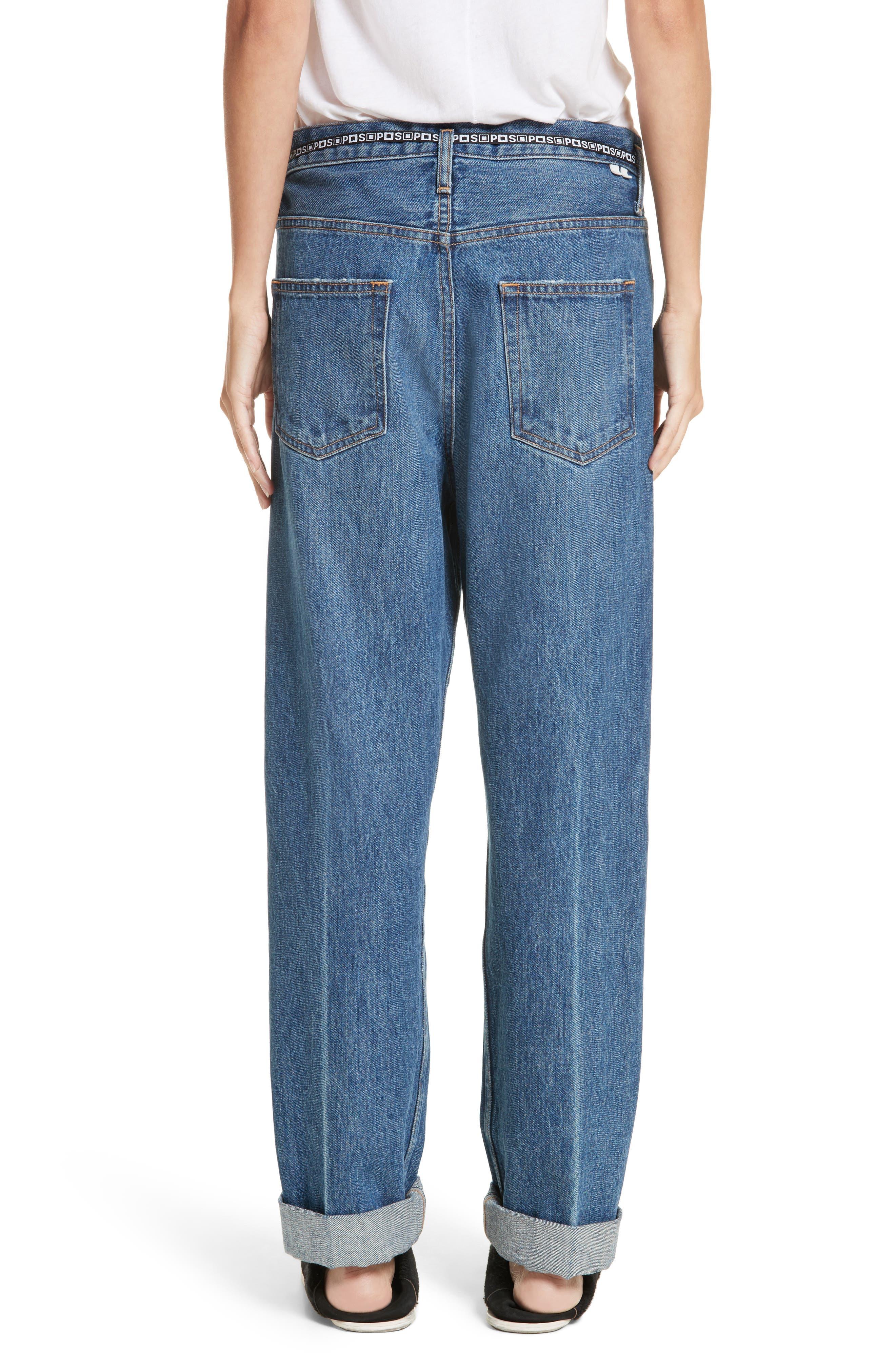 PSWL Cuffed Straight Leg Jeans,                             Alternate thumbnail 3, color,                             Medium Blue