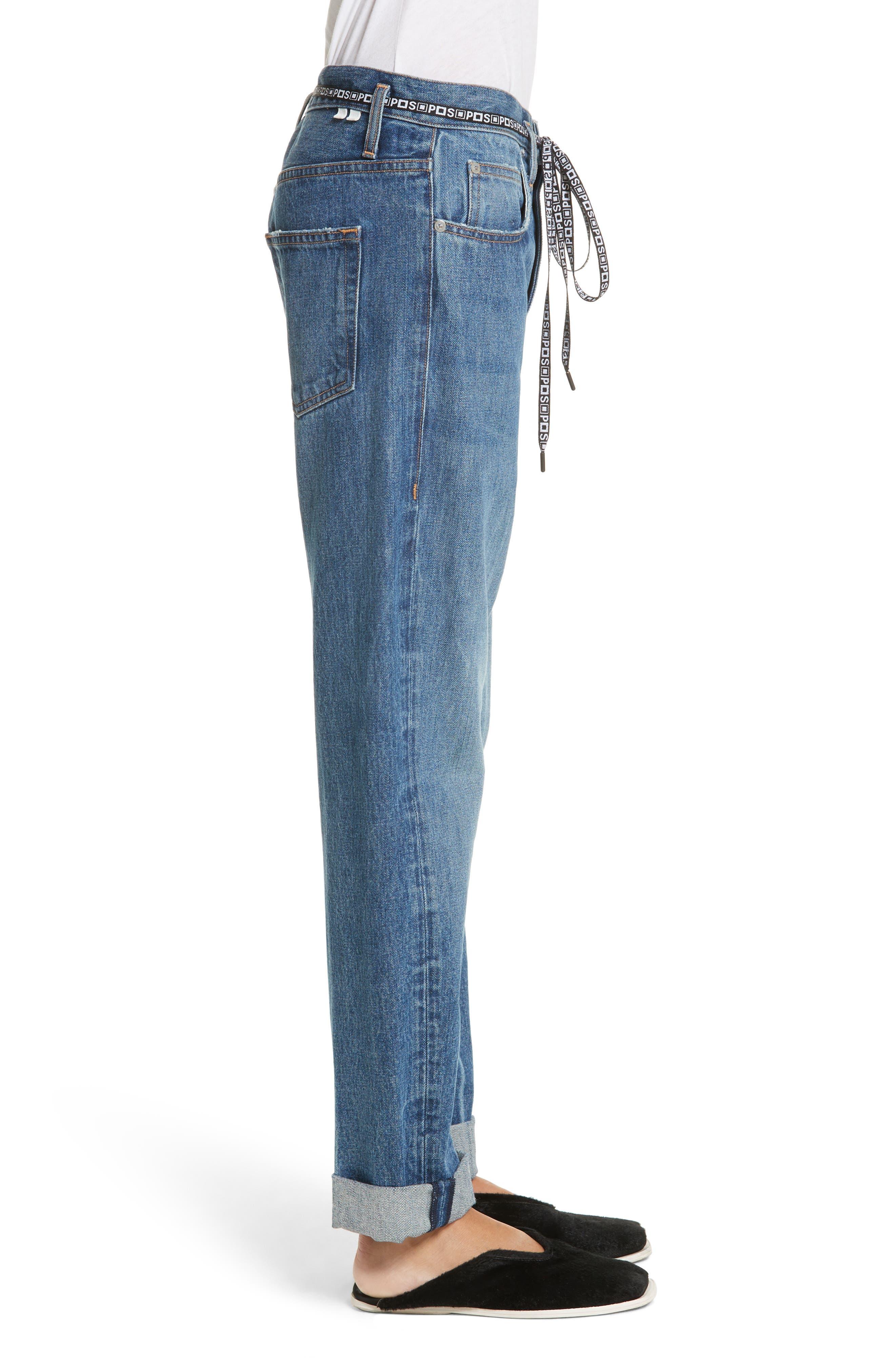 PSWL Cuffed Straight Leg Jeans,                             Alternate thumbnail 4, color,                             Medium Blue