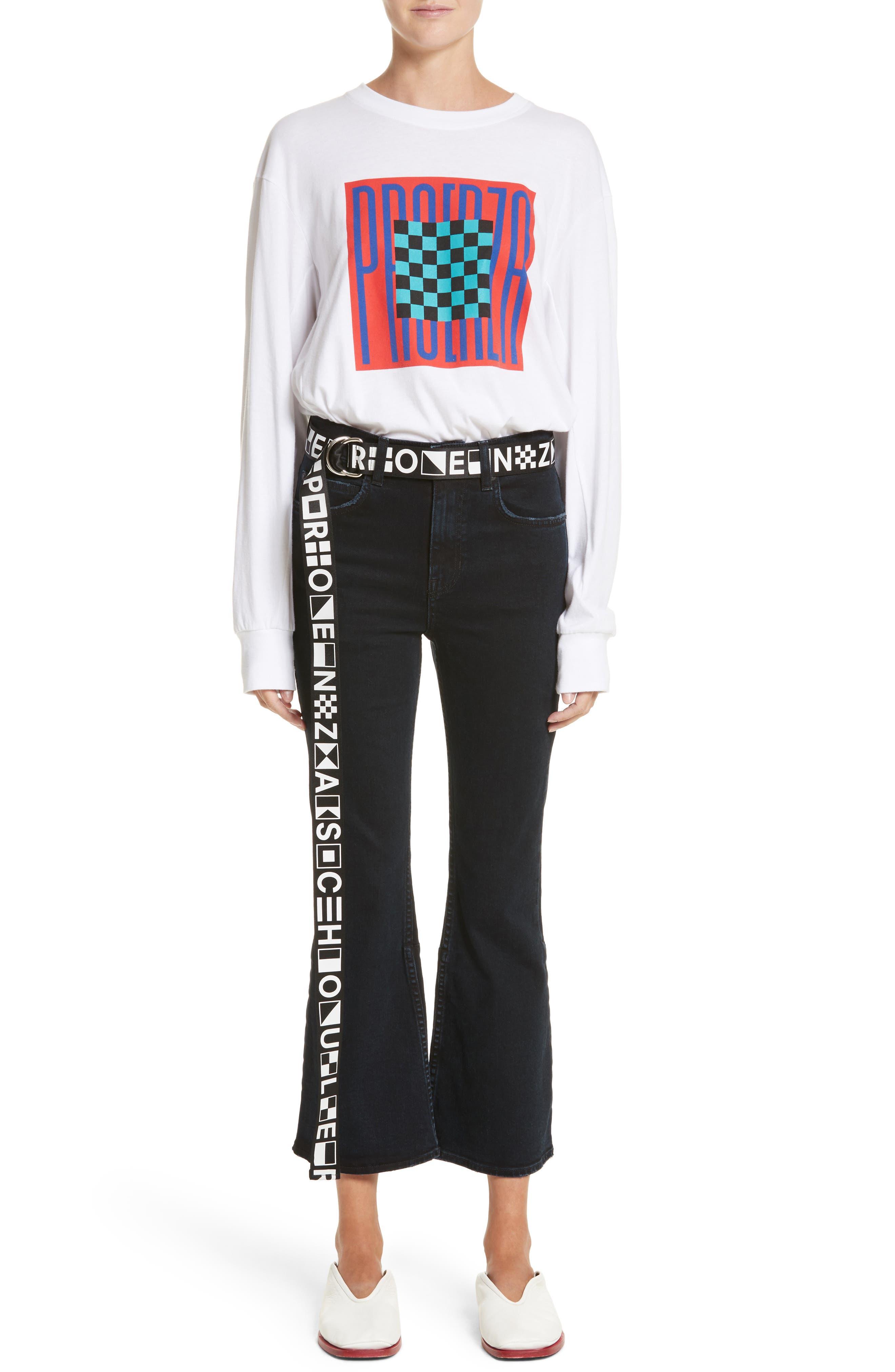 PSWL Crop Kick Flare Jeans,                             Alternate thumbnail 6, color,                             Stone Washed Black
