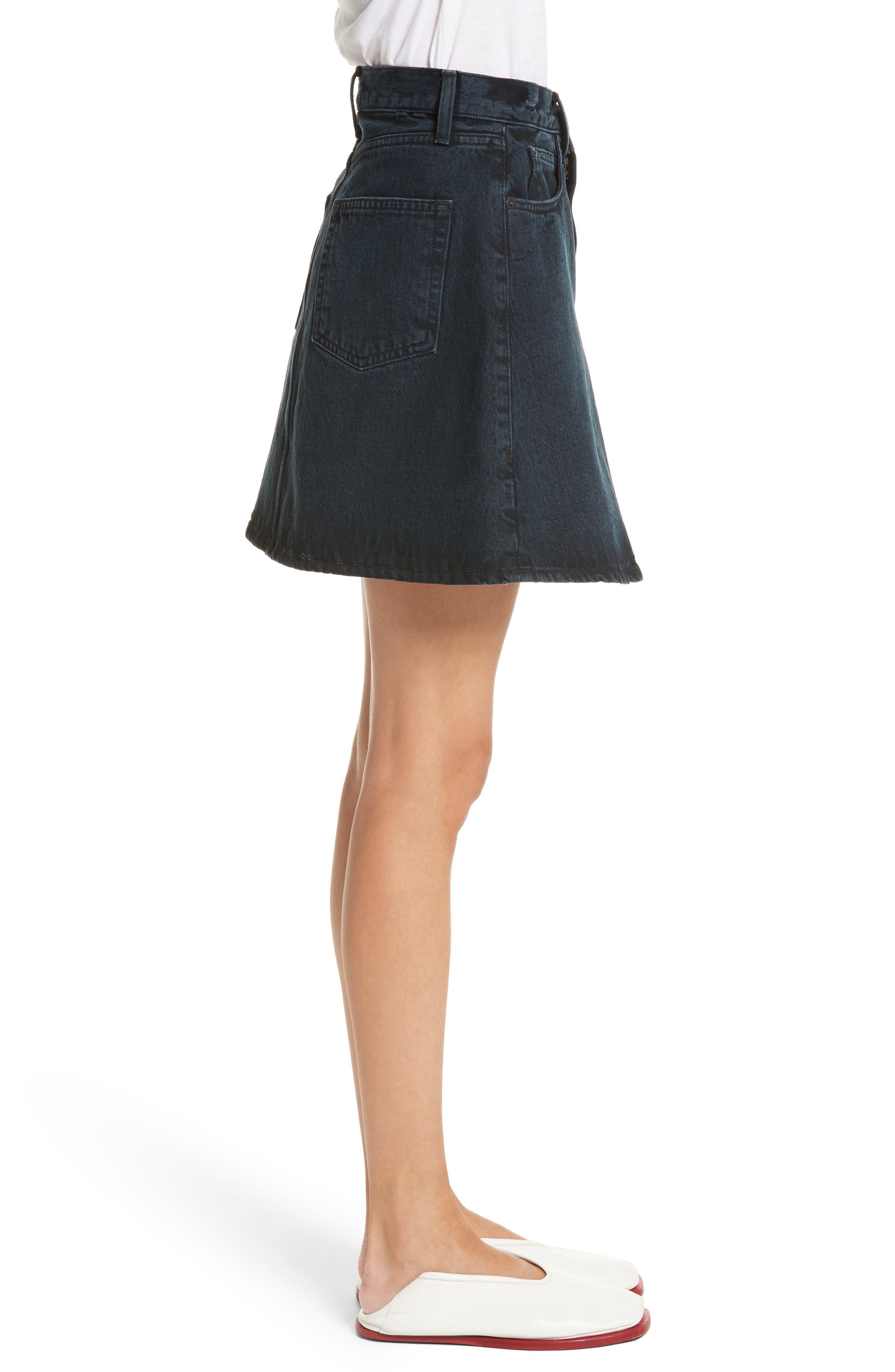 PSWL Folded Denim Skirt,                             Alternate thumbnail 3, color,                             Stone Washed Black