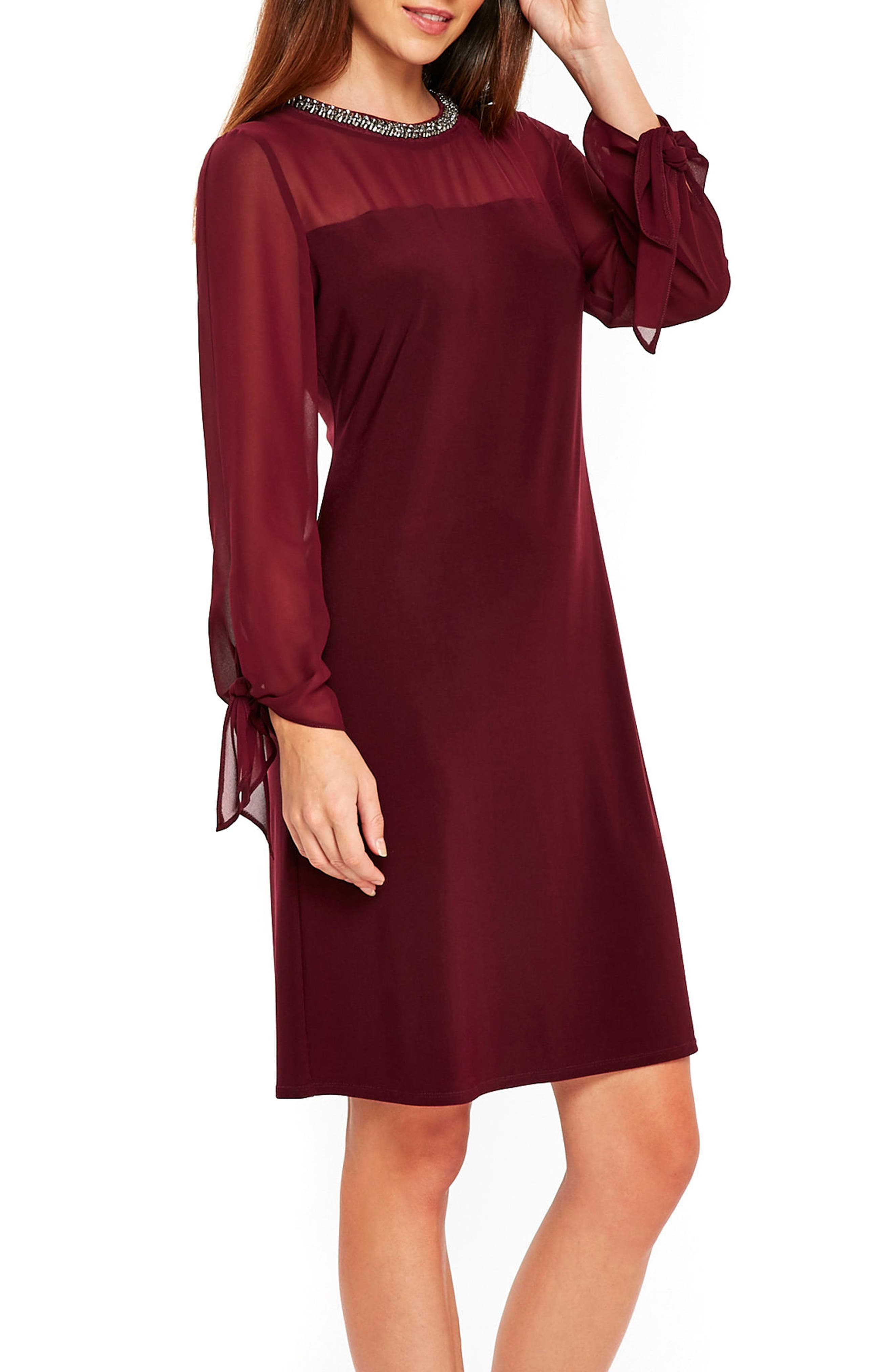 Wallis Tie Sleeve Embellished Neck Dress