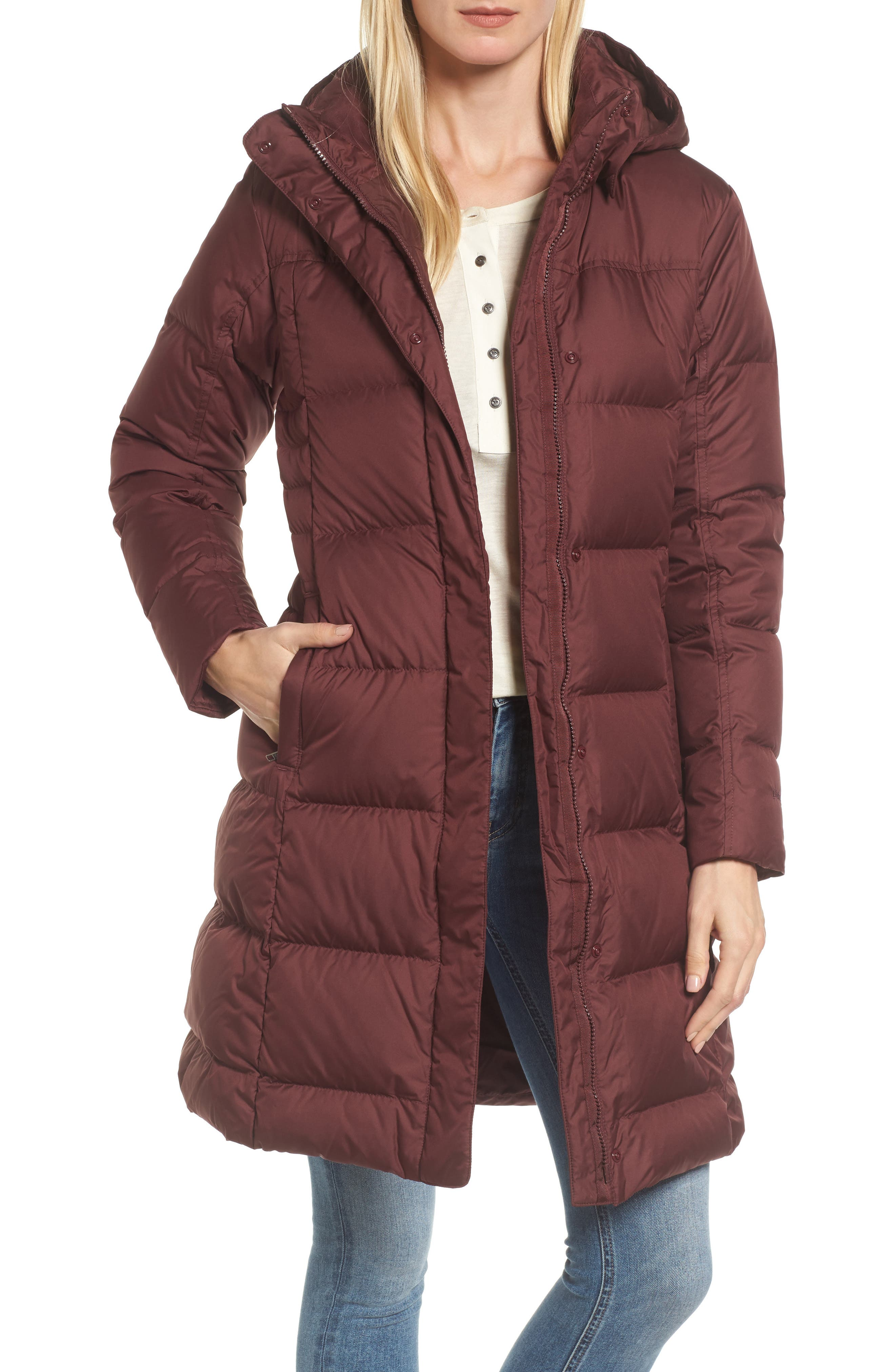 'Down with It' Water RepellentParka,                         Main,                         color, Dark Ruby