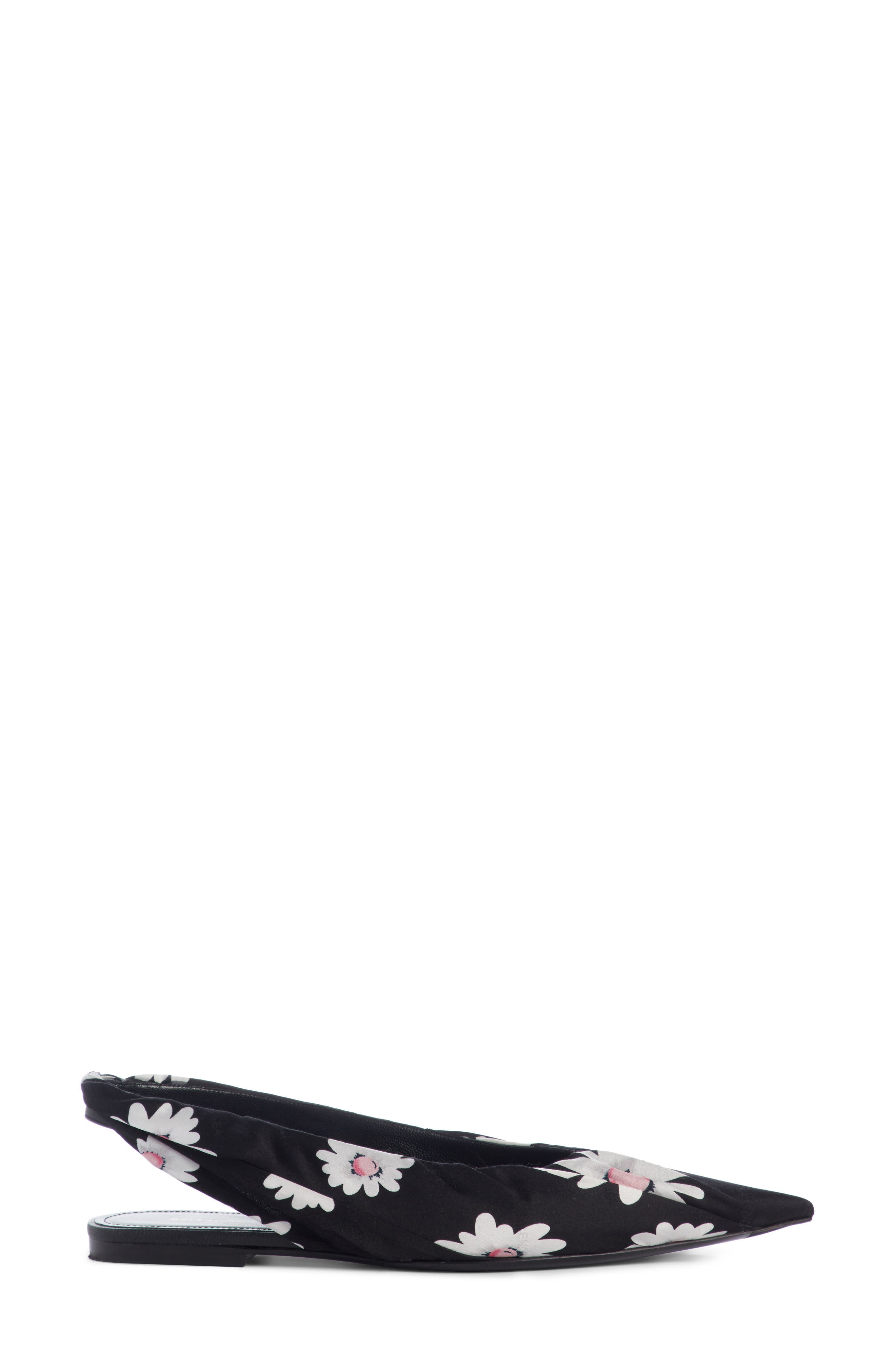 Pointy Toe Slingback Flat,                             Alternate thumbnail 3, color,                             Black/ White