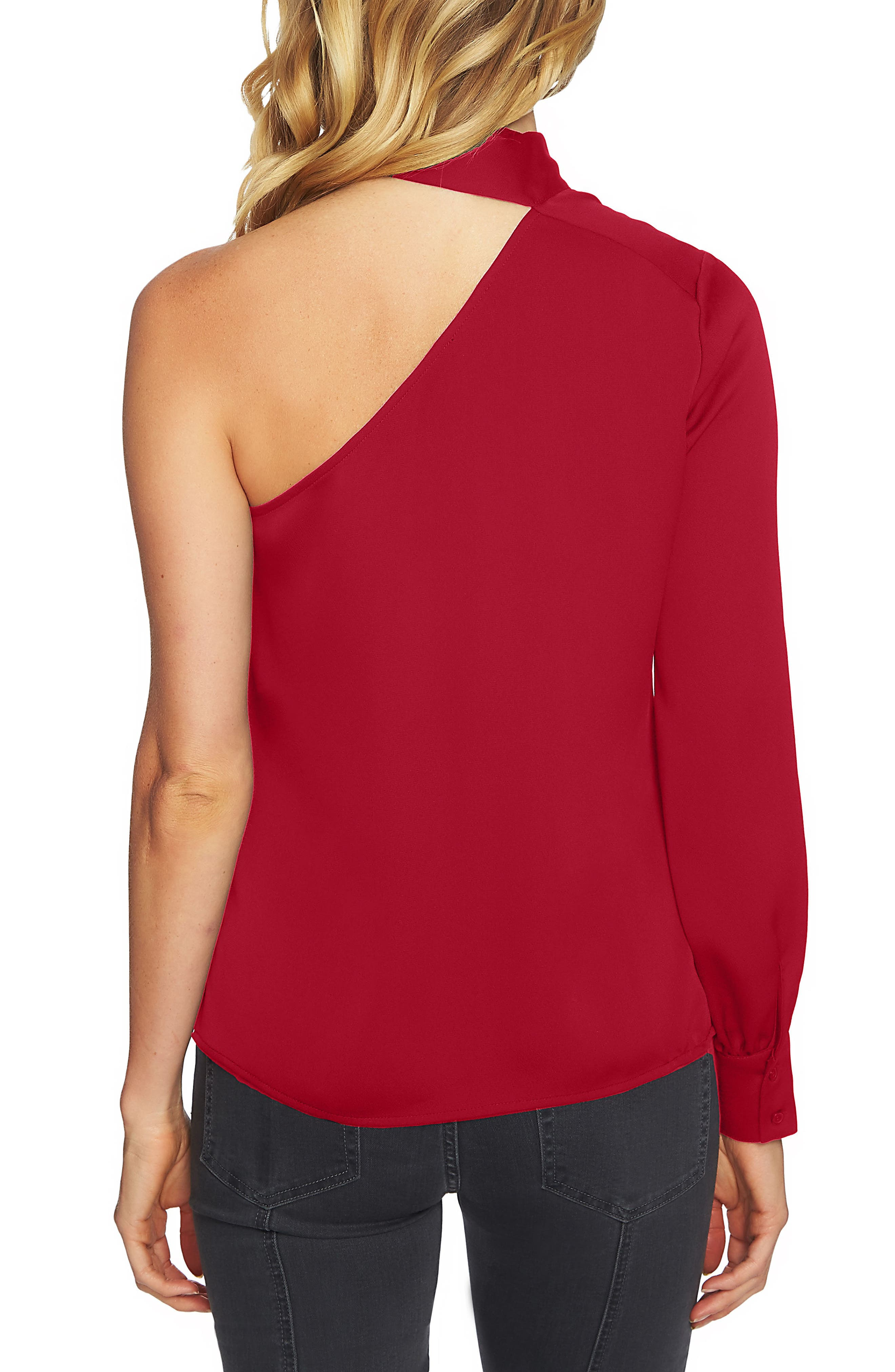 Tie Neck One-Shoulder Top,                             Alternate thumbnail 2, color,                             Persian Red