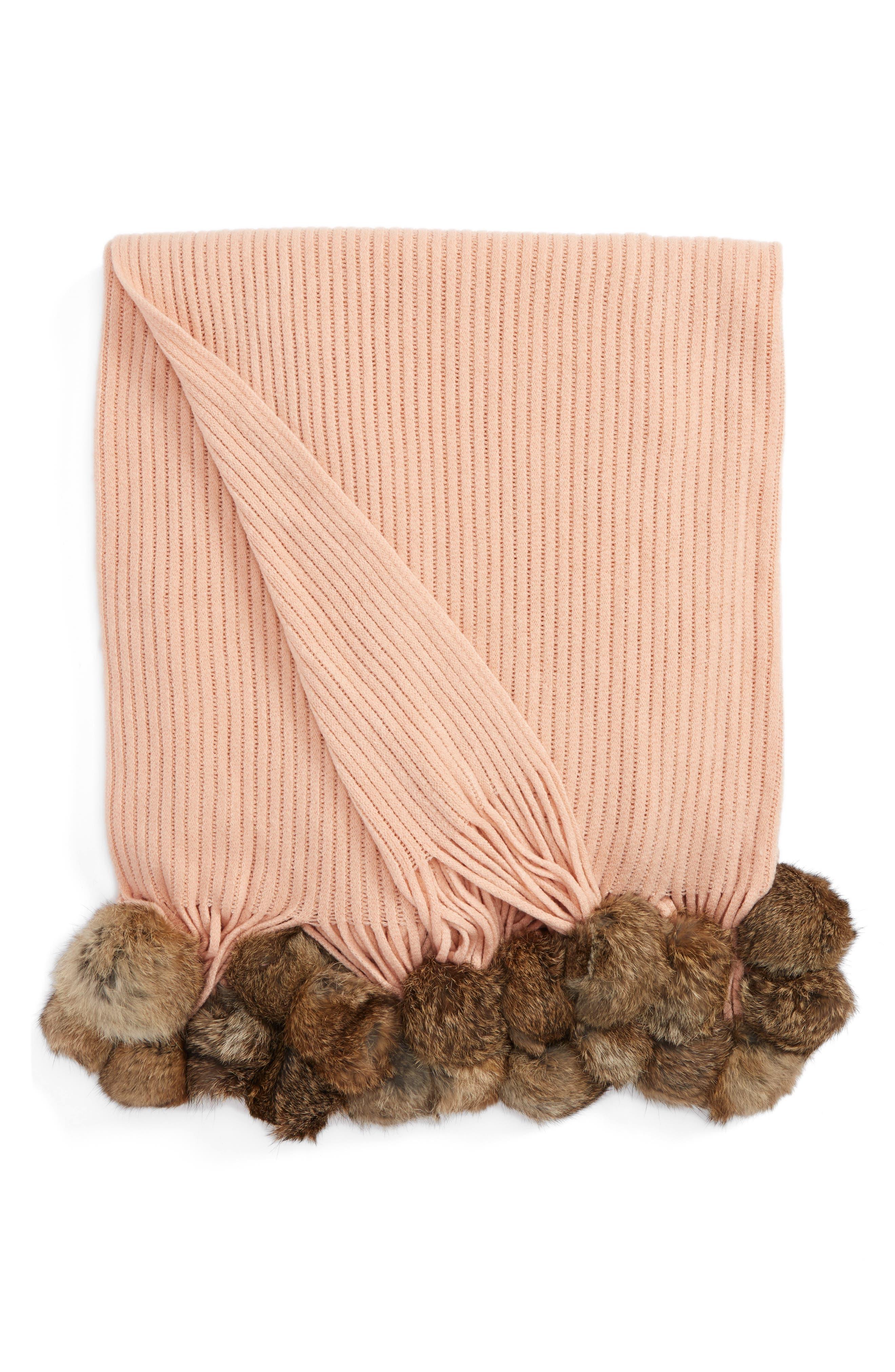 Genuine Rabbit Fur Pompom Rib Knit Throw,                         Main,                         color, Blush