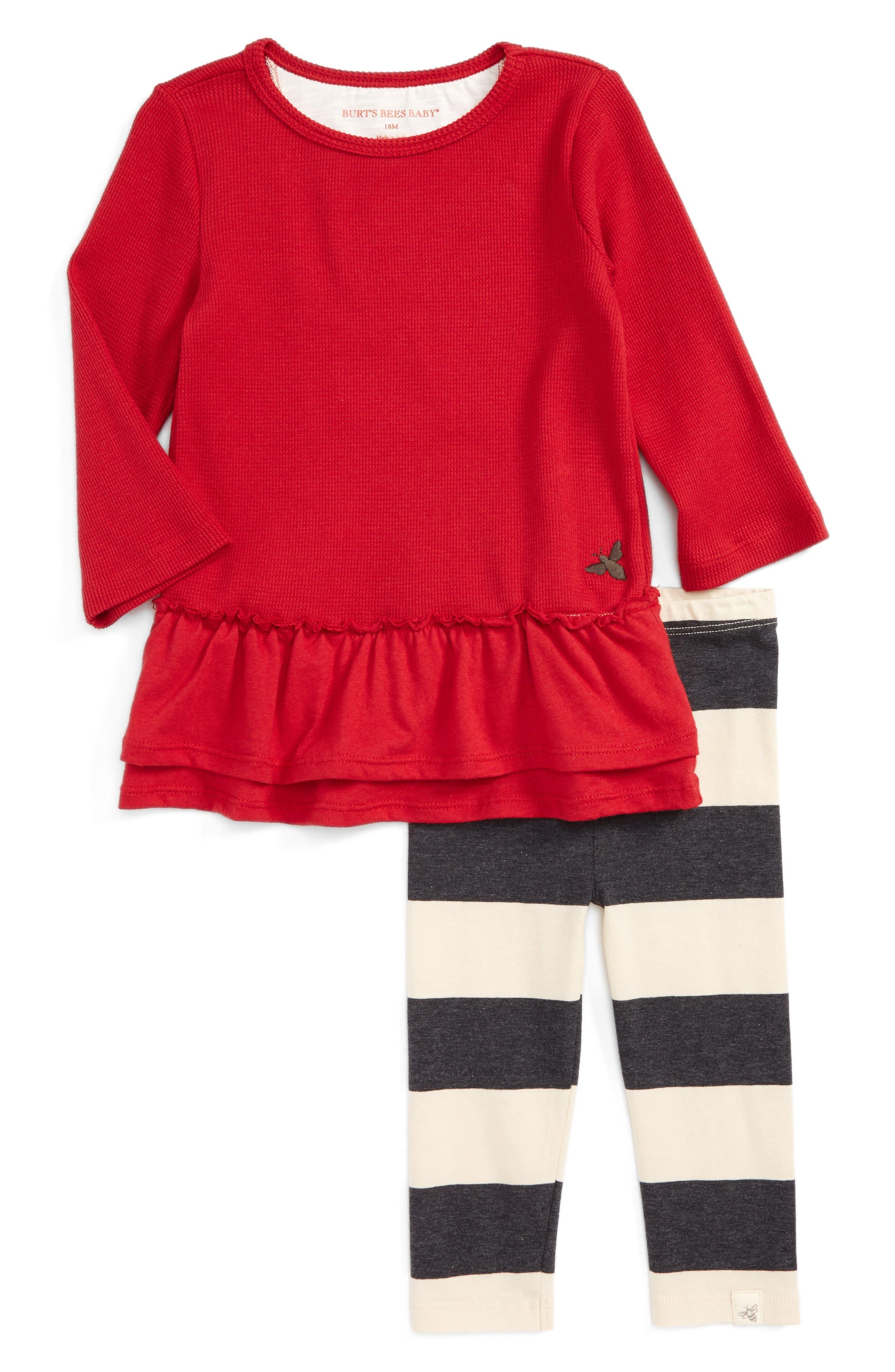 Burt's Bees Baby Thermal Ruffle Skater Dress & Leggings Set (Baby Girls)