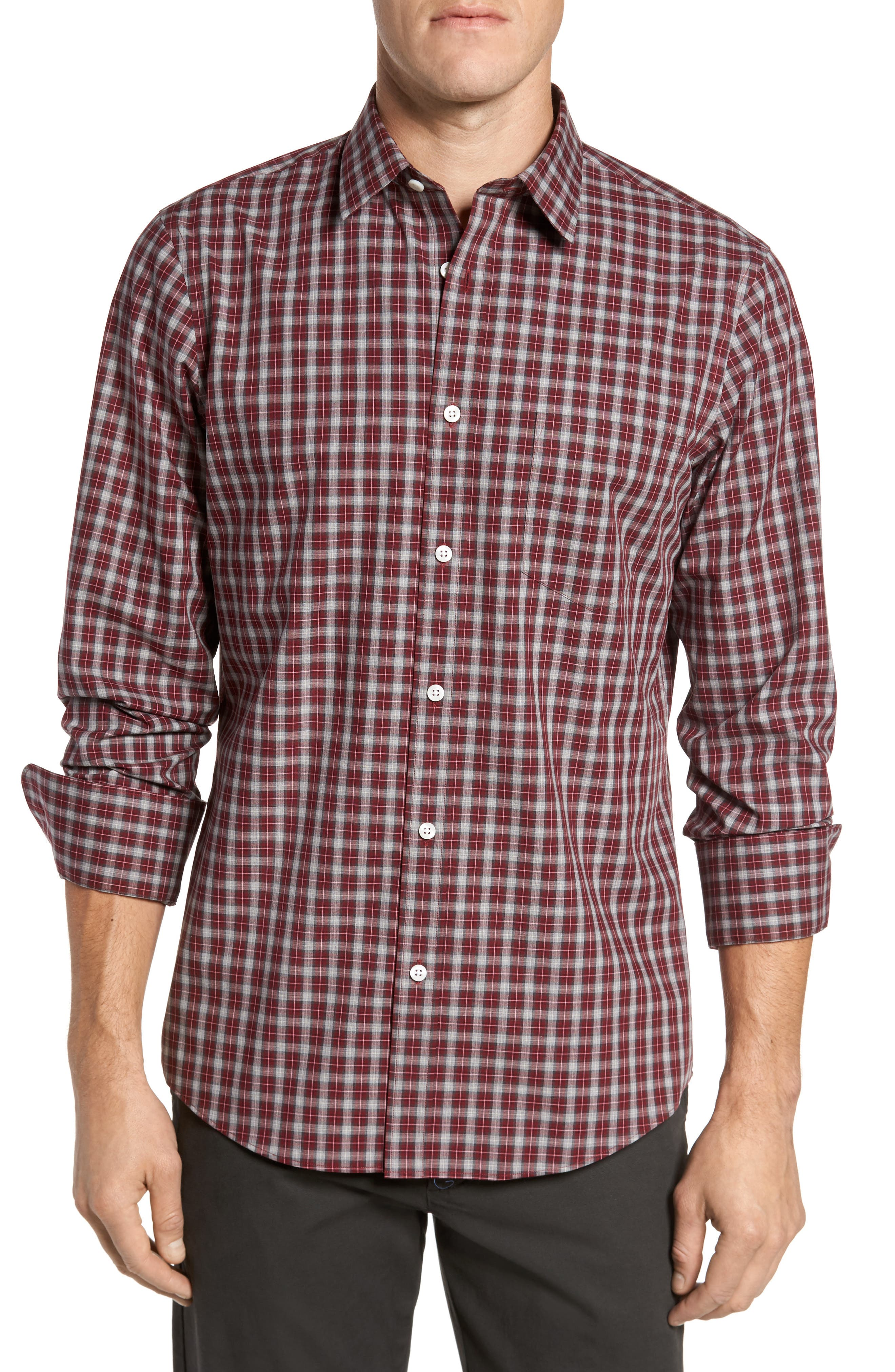 Regular Fit Non-Iron Check Sport Shirt,                         Main,                         color, Red Ruby Grey Check