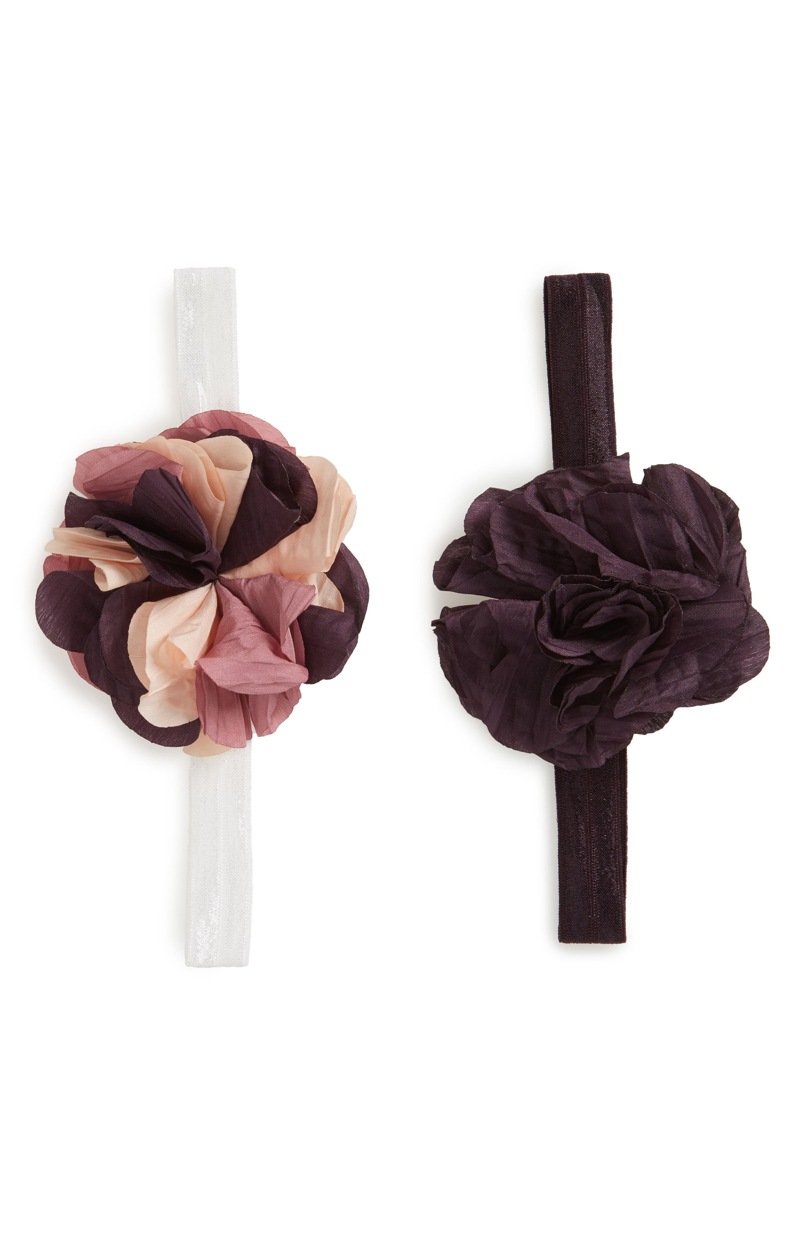 Main Image - PLH Bows & Laces Crinkle Flower 2-Pack Headbands (Baby Girls)