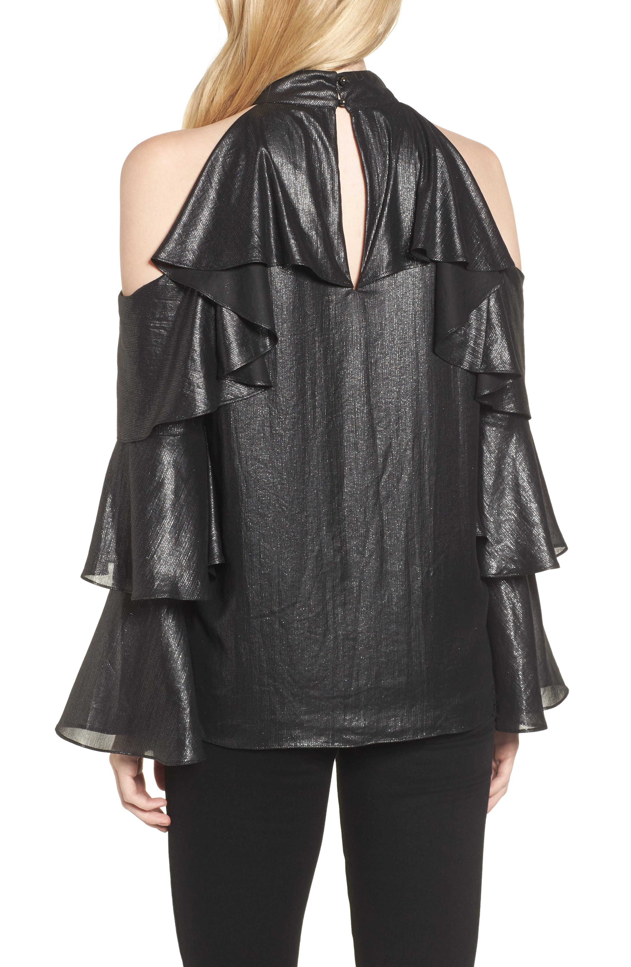 Alternate Image 2  - Parker Kris Cold Shoulder Silk Blouse