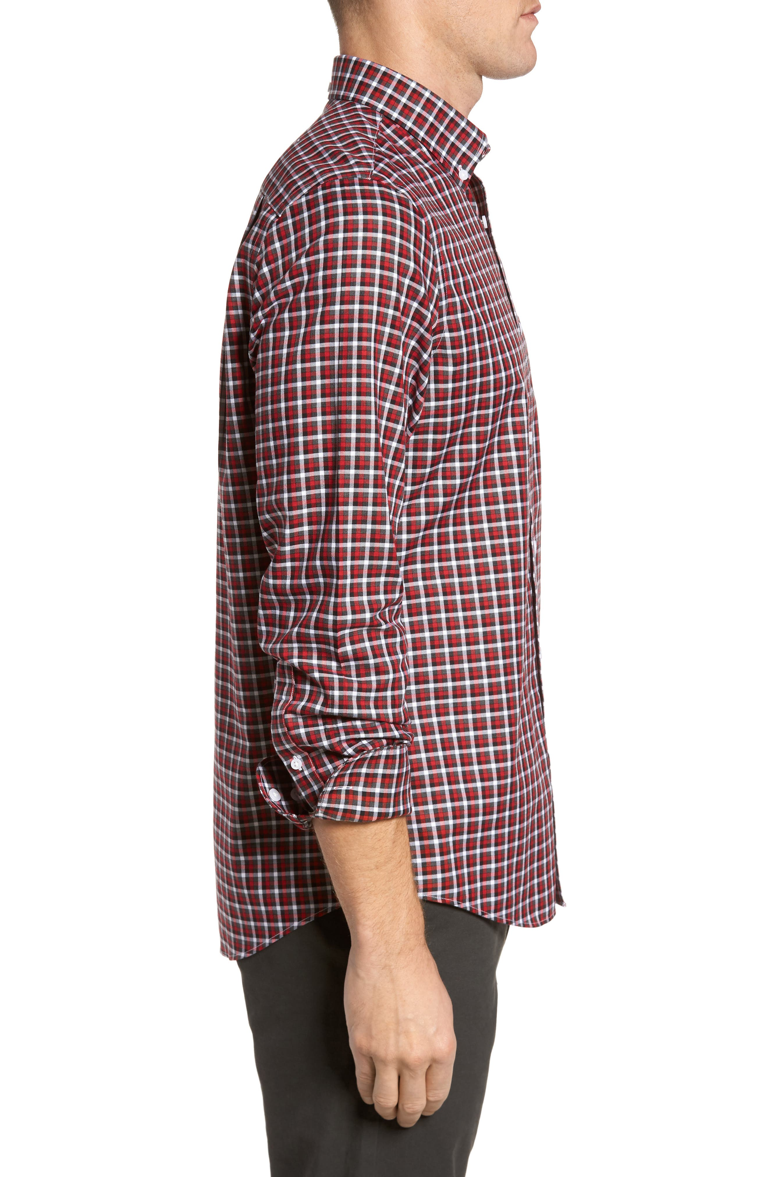 Smartcare<sup>™</sup> Regular Fit Plaid Sport Shirt,                             Alternate thumbnail 3, color,                             Red Grey Heather Check