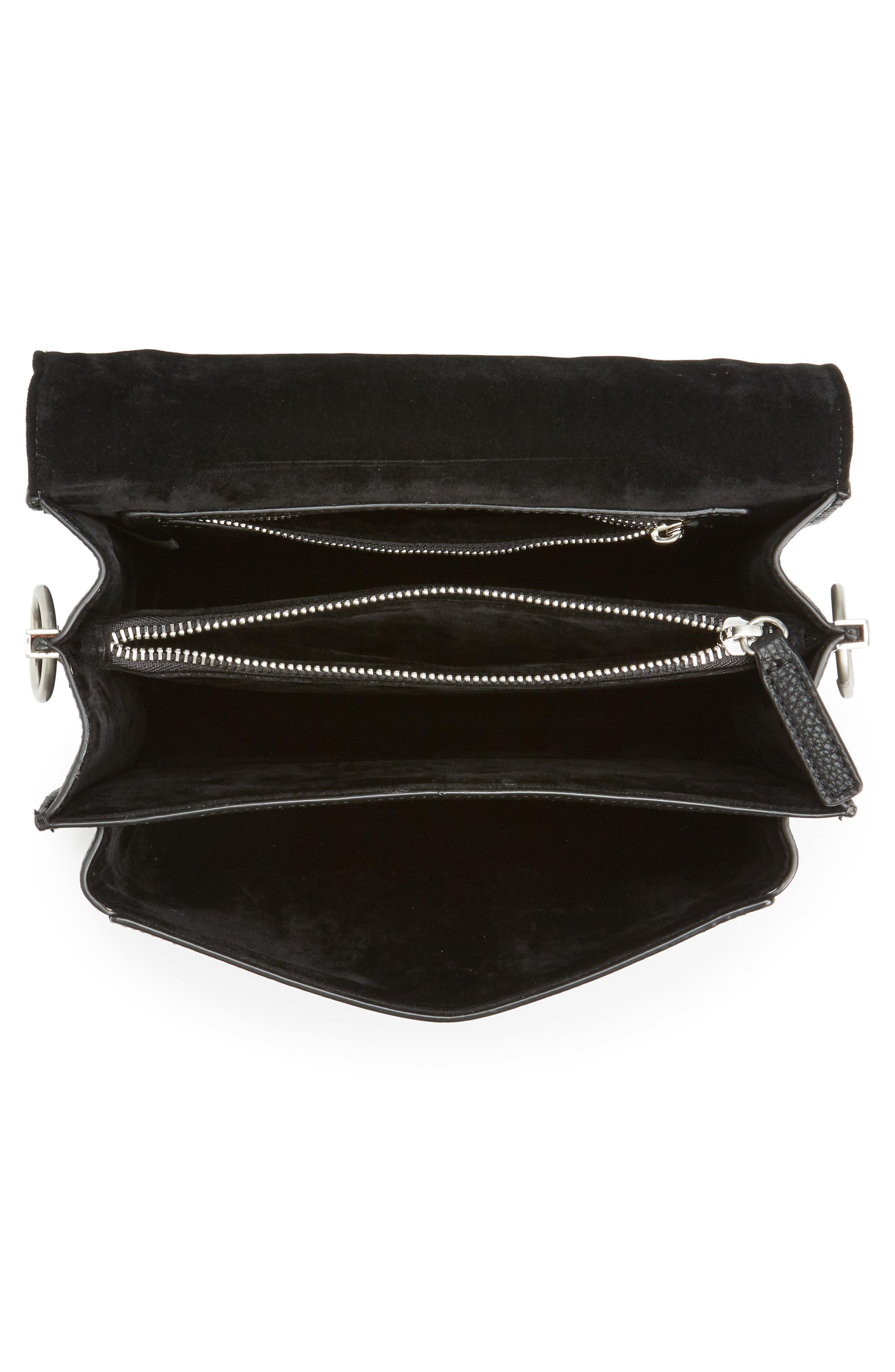 Gessica Leather Shoulder Bag,                             Alternate thumbnail 3, color,                             Black