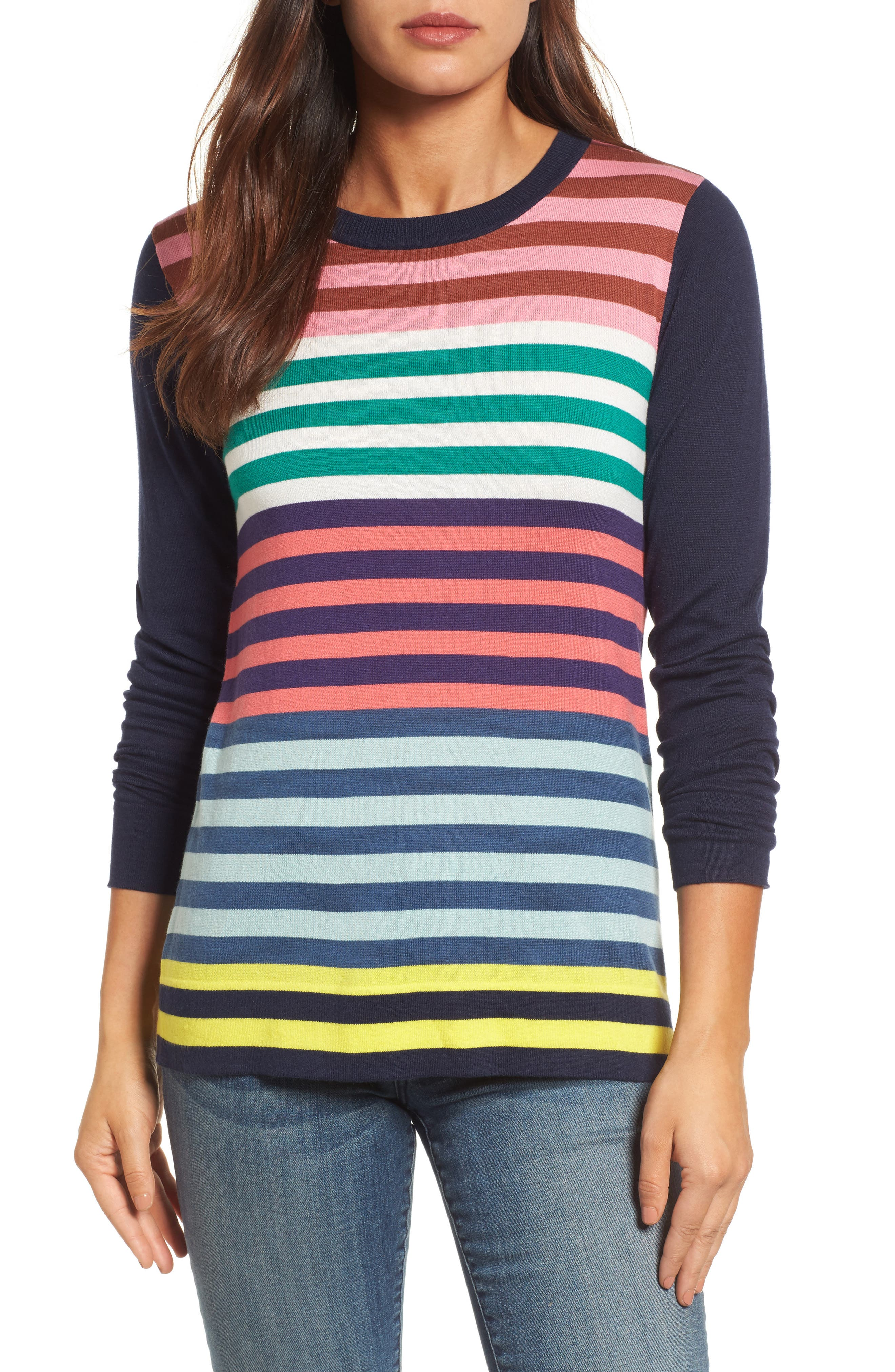 Colorblock Stripe Sweater,                             Main thumbnail 1, color,                             Coral Multi Stripe