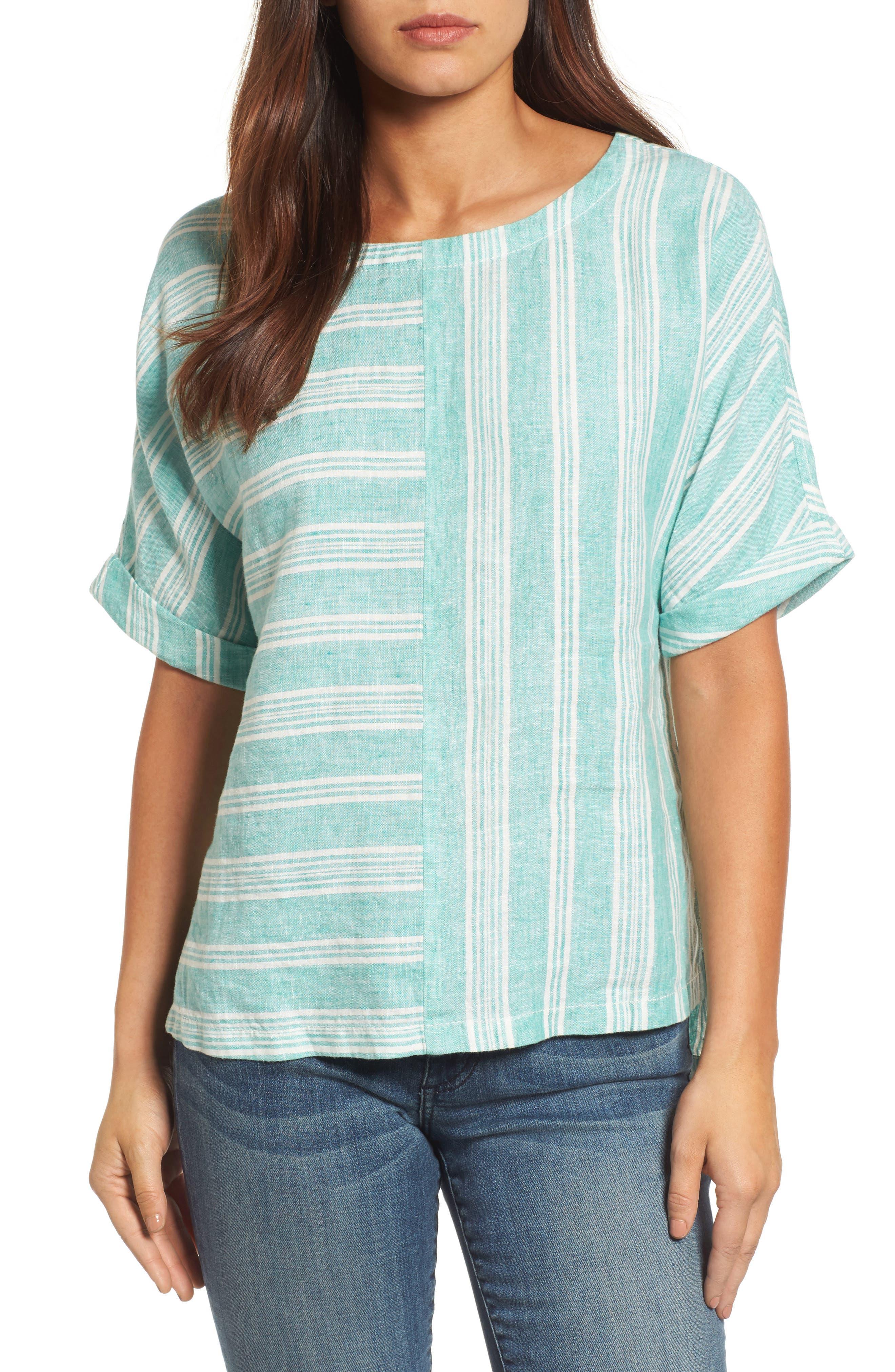 V-Back Linen Top,                         Main,                         color, Green- Ivory Stripe