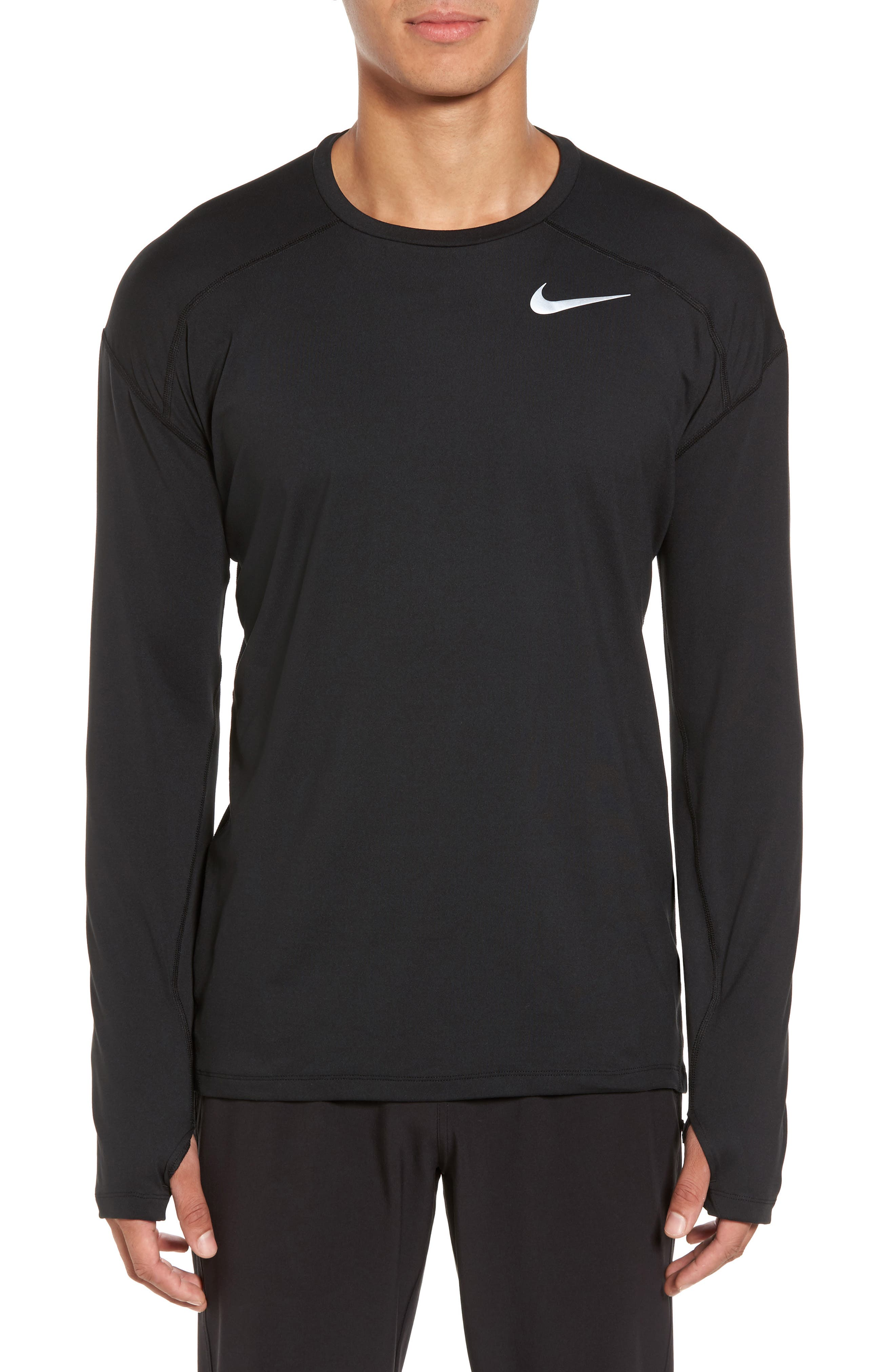 Running Dry Element Long Sleeve T-Shirt,                             Main thumbnail 1, color,                             Black