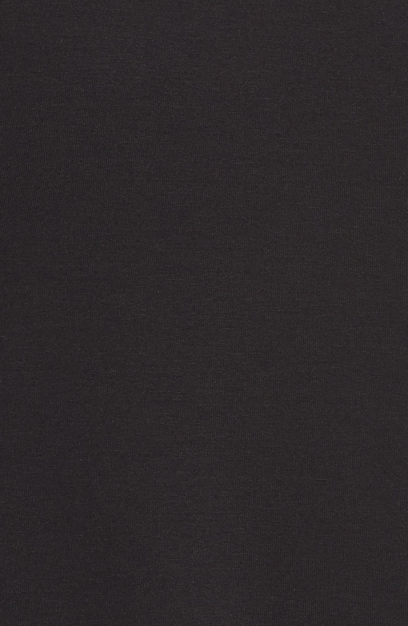 Turtleneck Jersey Top,                             Alternate thumbnail 5, color,                             Black