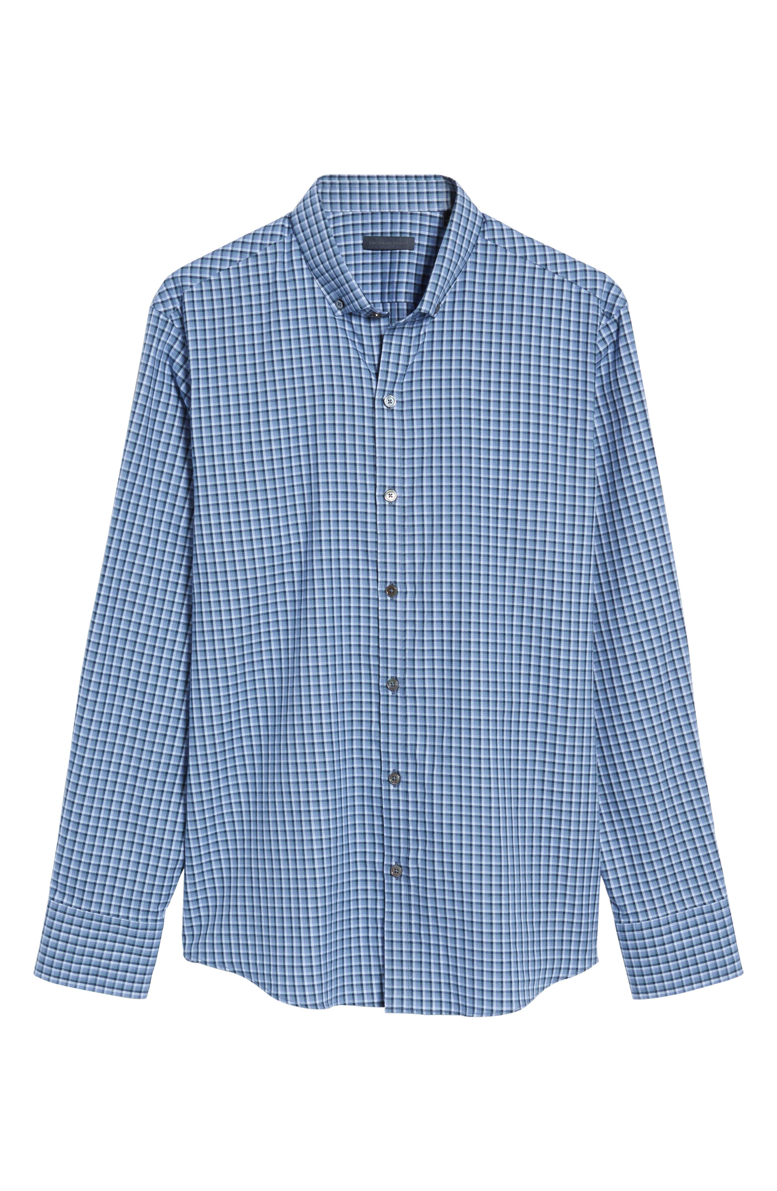 Kapur Slim Fit Check Sport Shirt,                             Alternate thumbnail 6, color,                             Azure