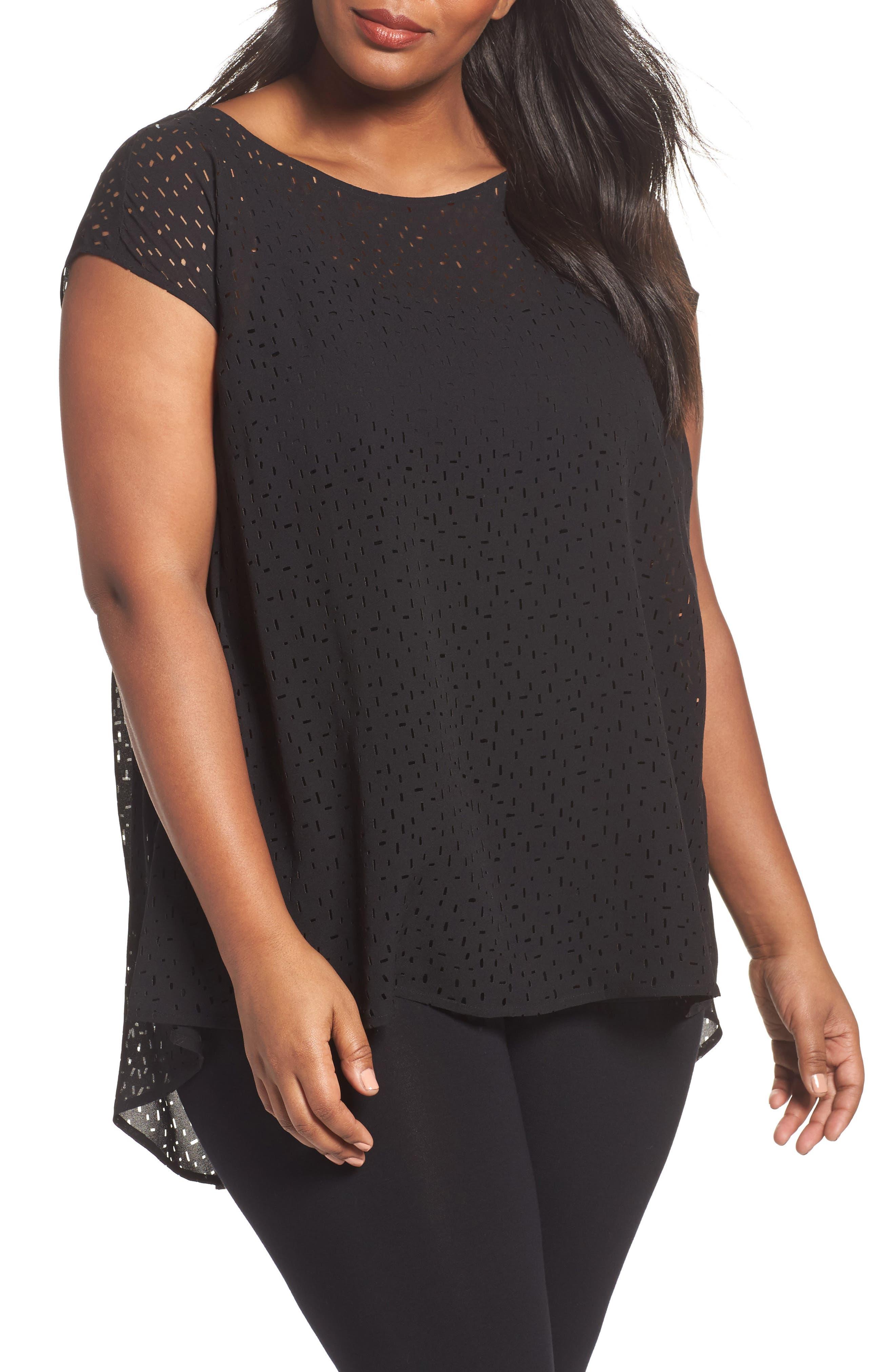 Cutwork Silk Top,                         Main,                         color, Black