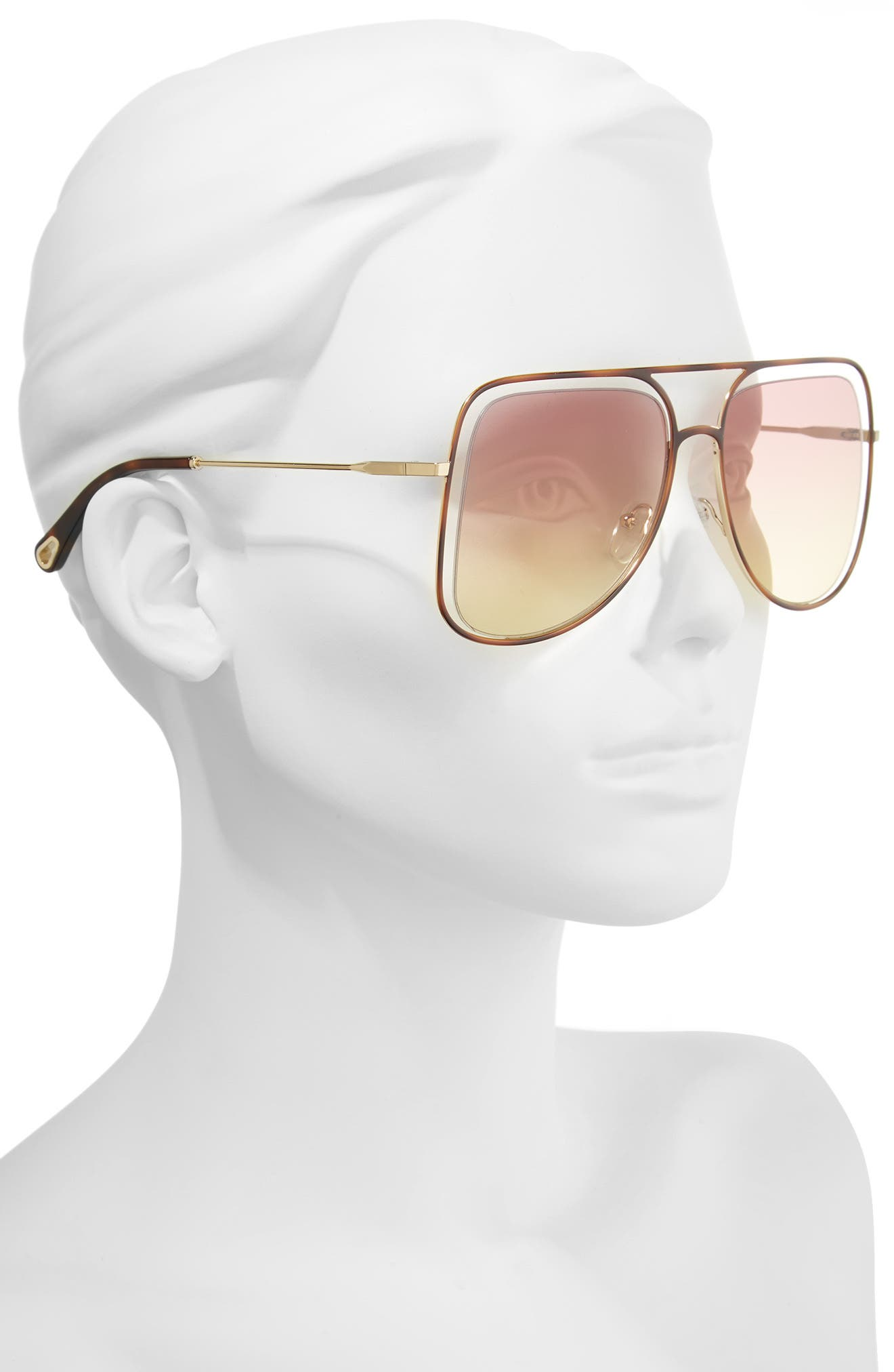 57mm Halo Frame Aviator Sunglasses,                             Alternate thumbnail 2, color,                             Havana/ Rose Honey